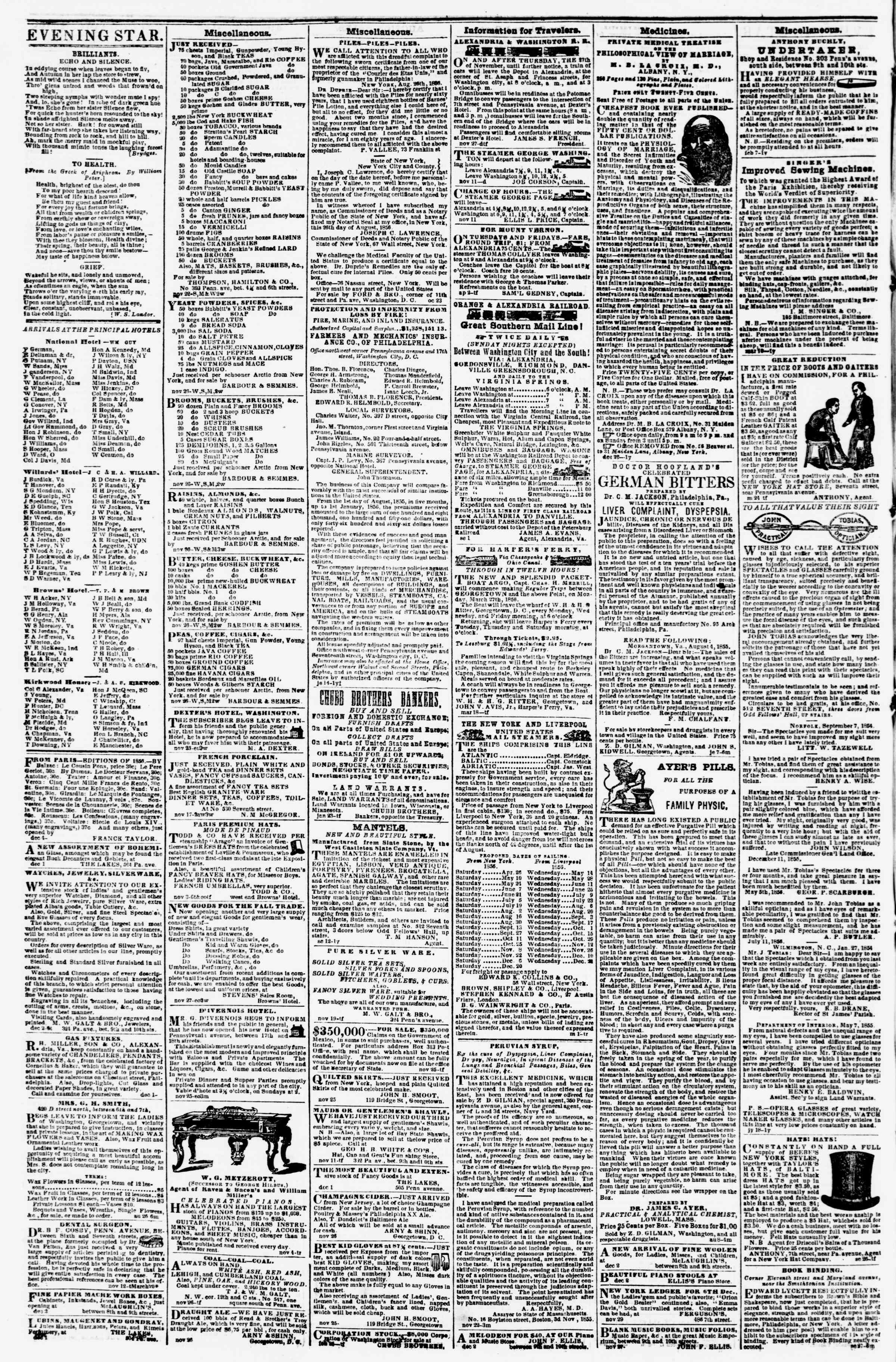 Newspaper of Evening Star dated December 6, 1856 Page 4