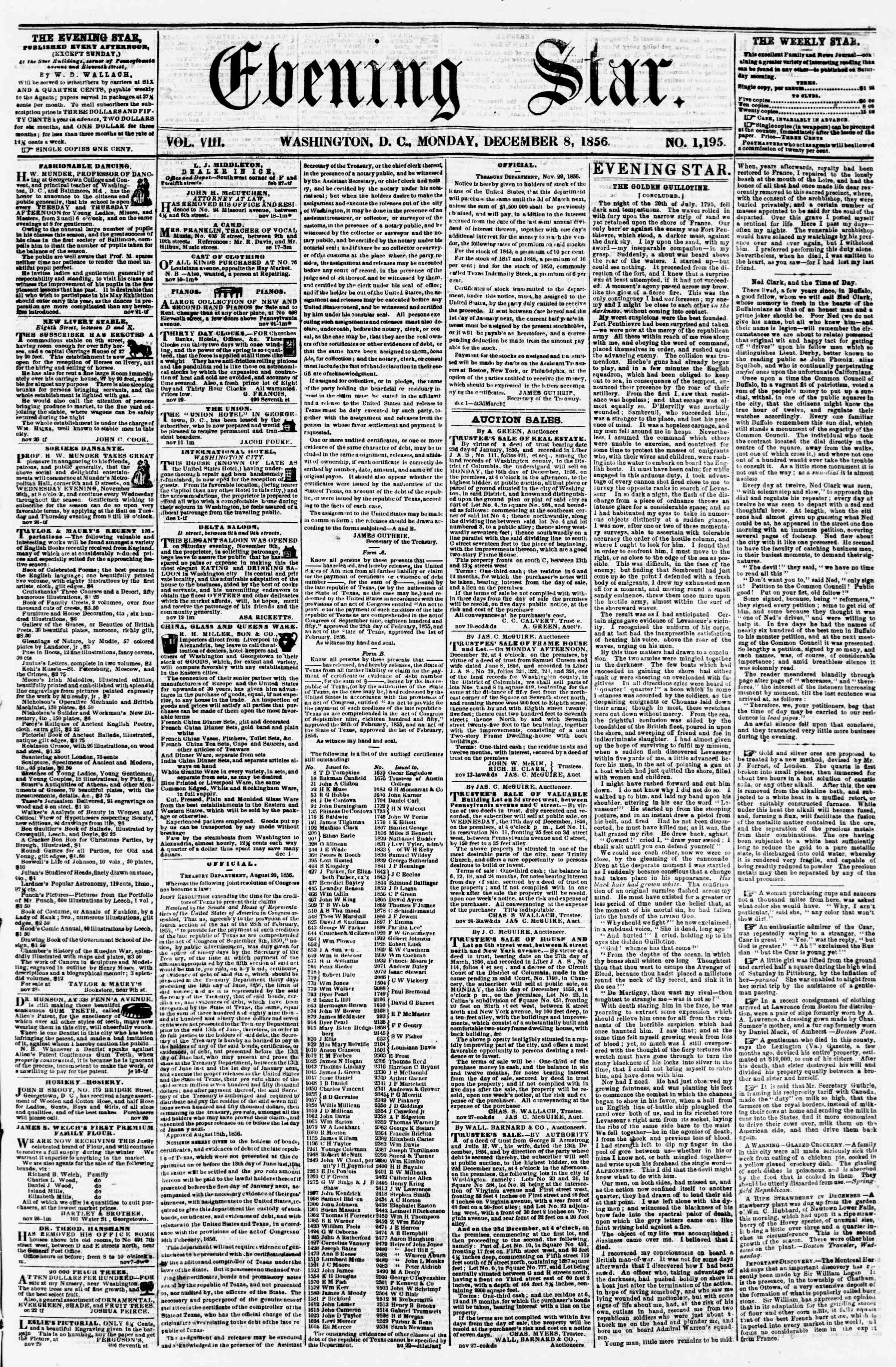 Newspaper of Evening Star dated December 8, 1856 Page 1