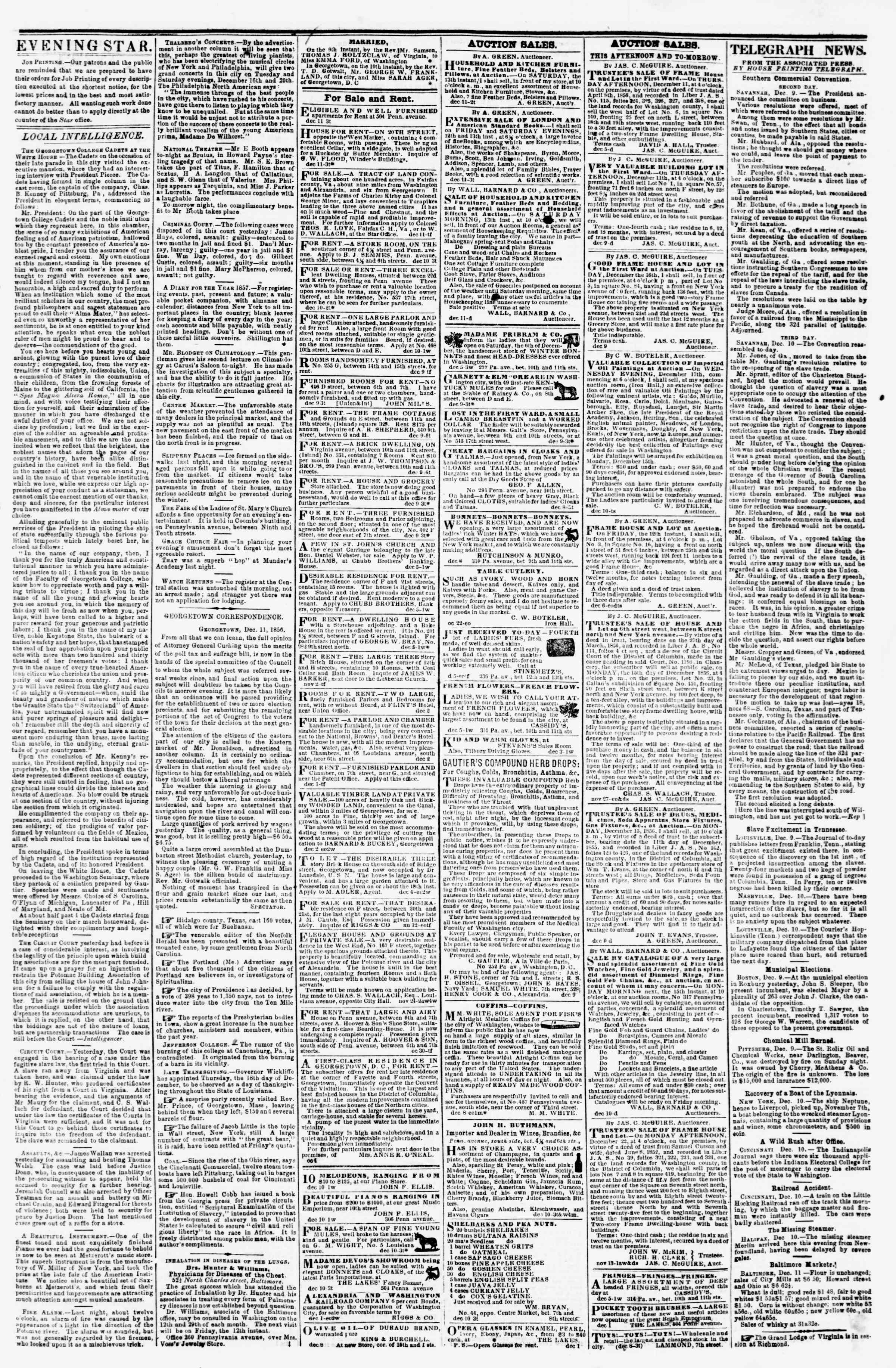 Newspaper of Evening Star dated December 11, 1856 Page 3