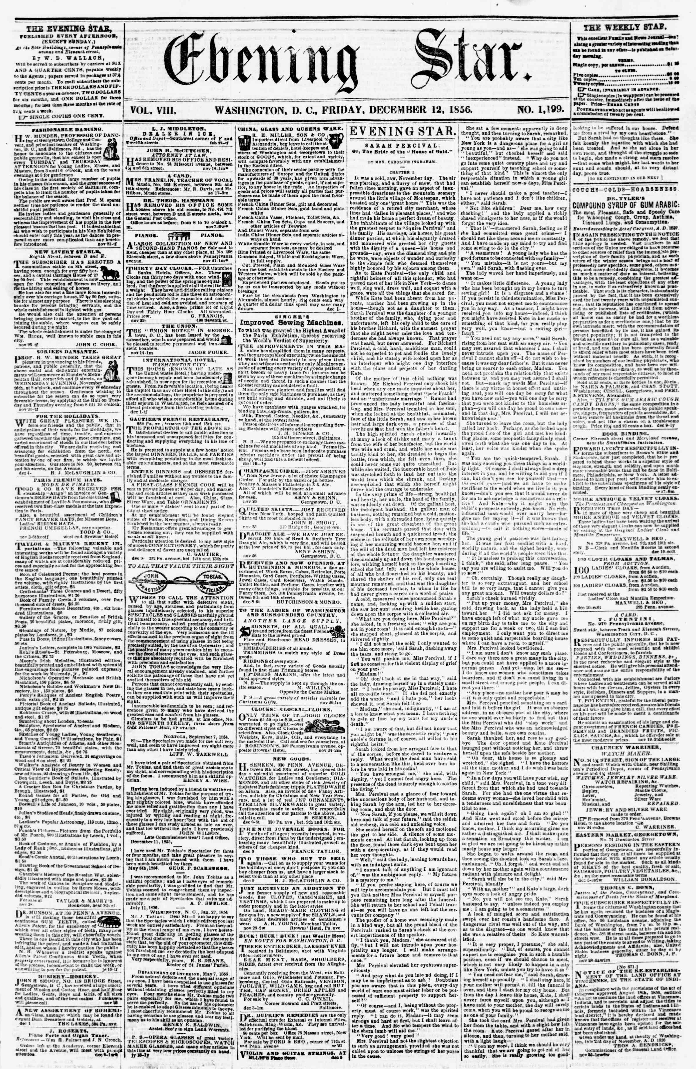 Newspaper of Evening Star dated December 12, 1856 Page 1