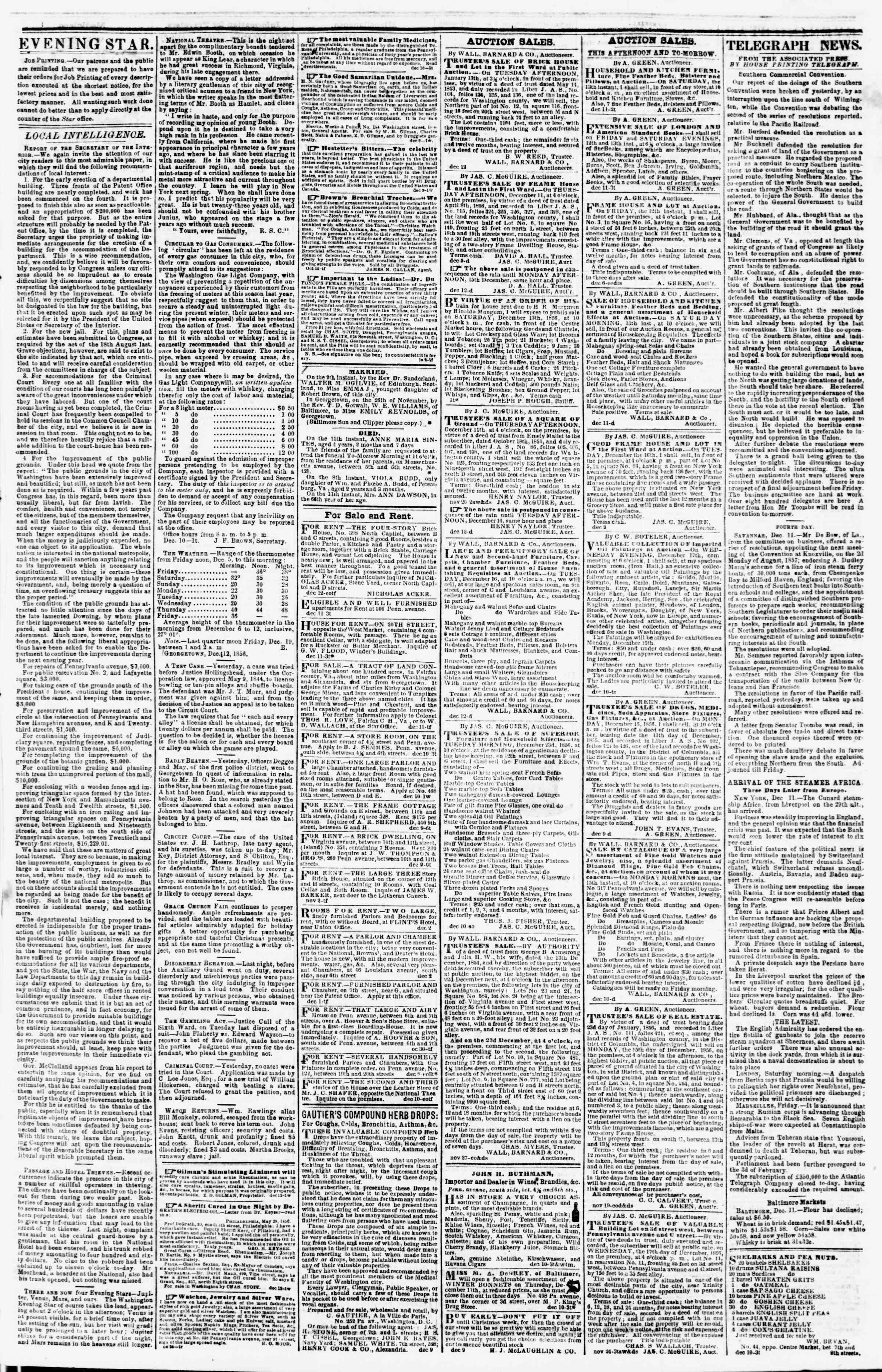 Newspaper of Evening Star dated December 12, 1856 Page 3