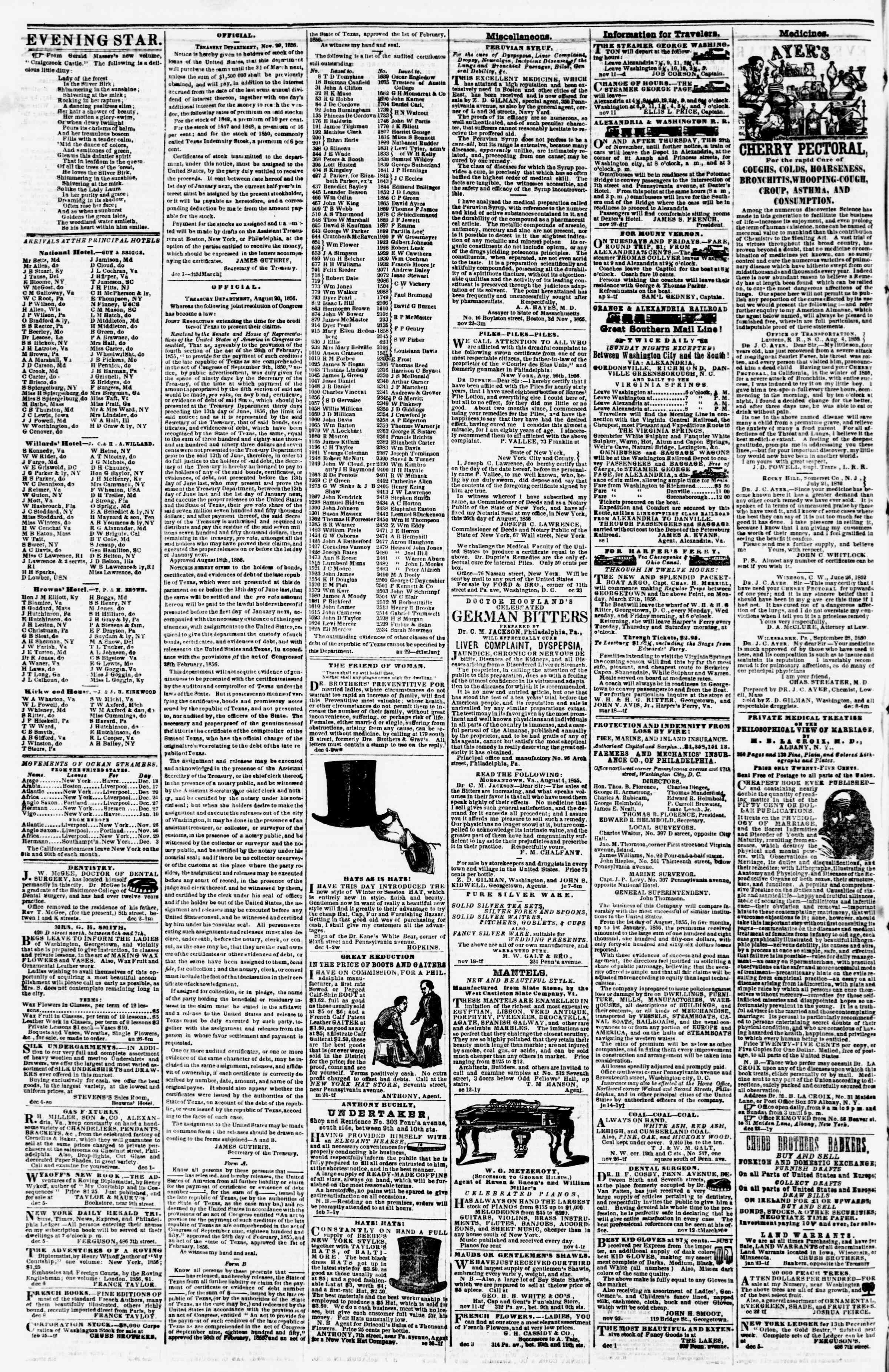 Newspaper of Evening Star dated December 12, 1856 Page 4