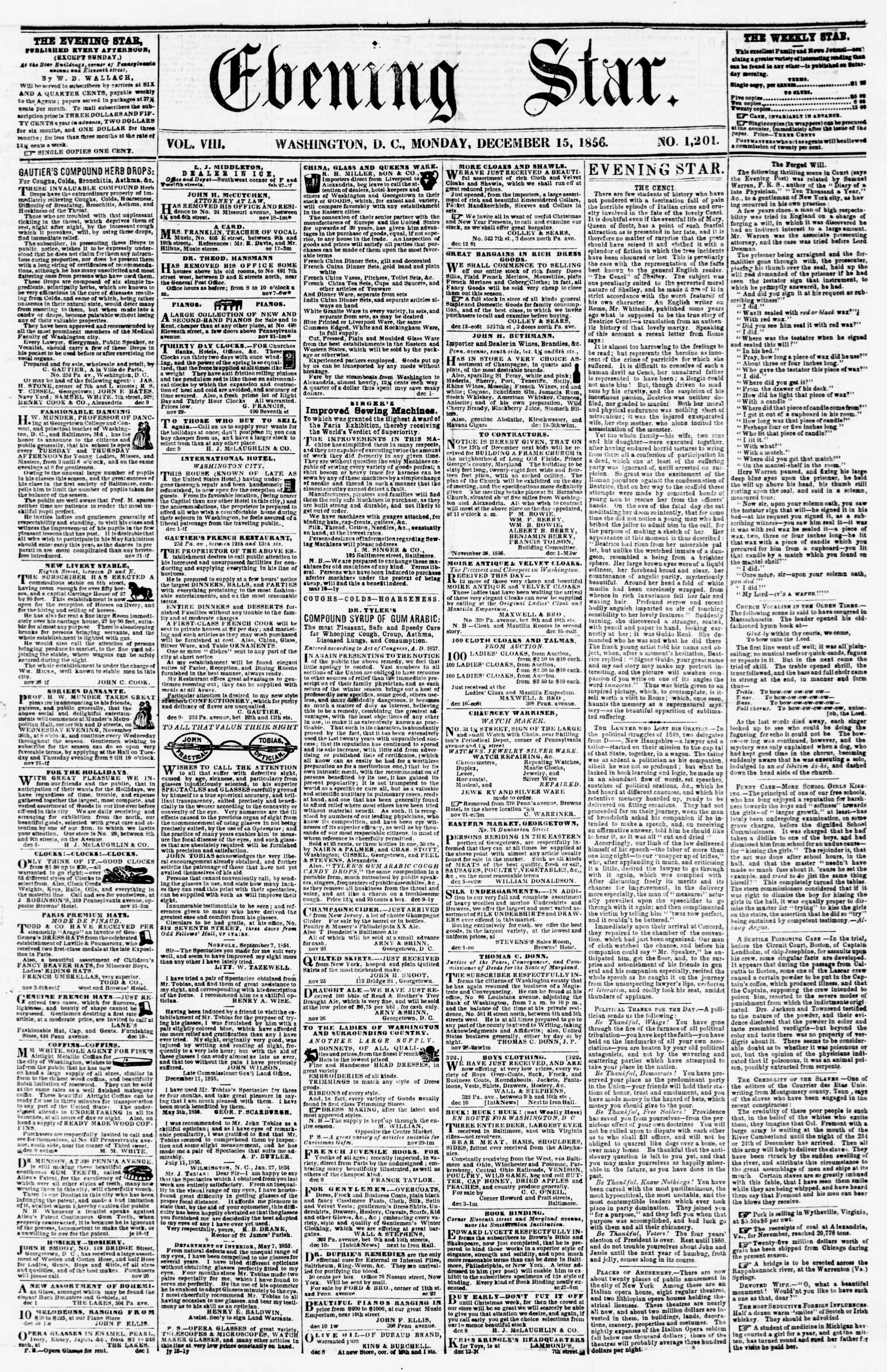 Newspaper of Evening Star dated December 15, 1856 Page 1