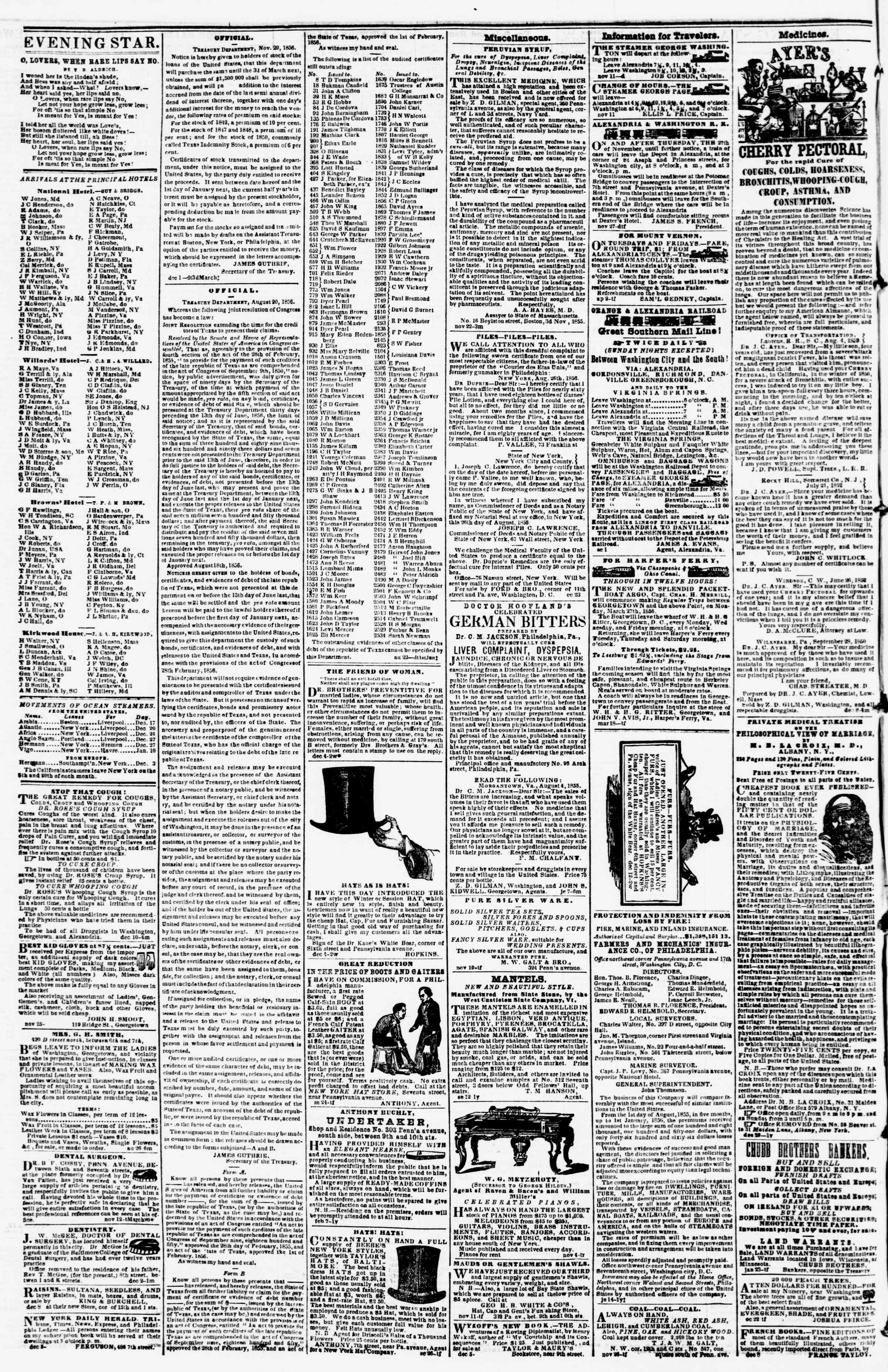 Newspaper of Evening Star dated December 15, 1856 Page 4
