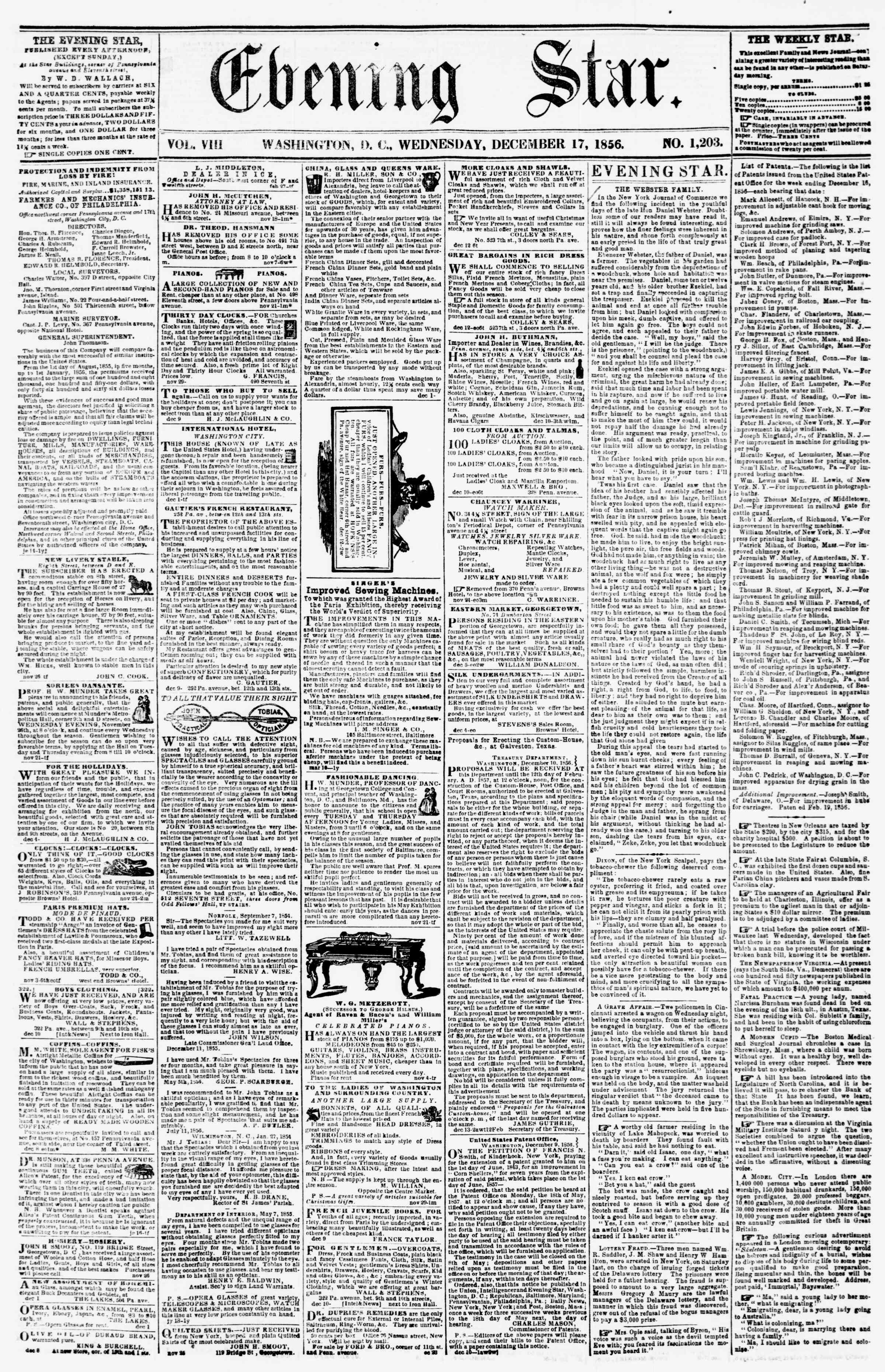 Newspaper of Evening Star dated December 17, 1856 Page 1