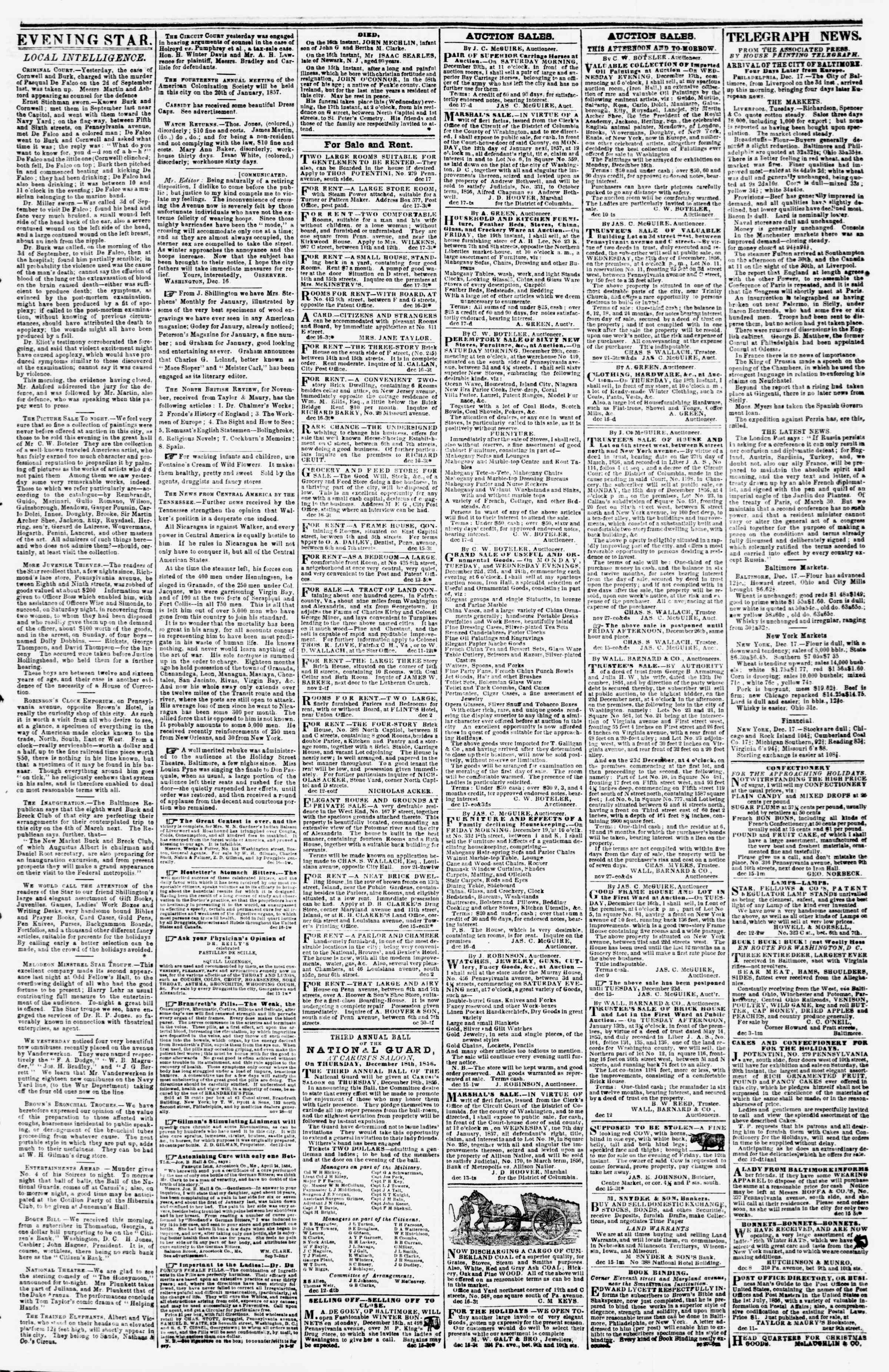 Newspaper of Evening Star dated December 17, 1856 Page 3