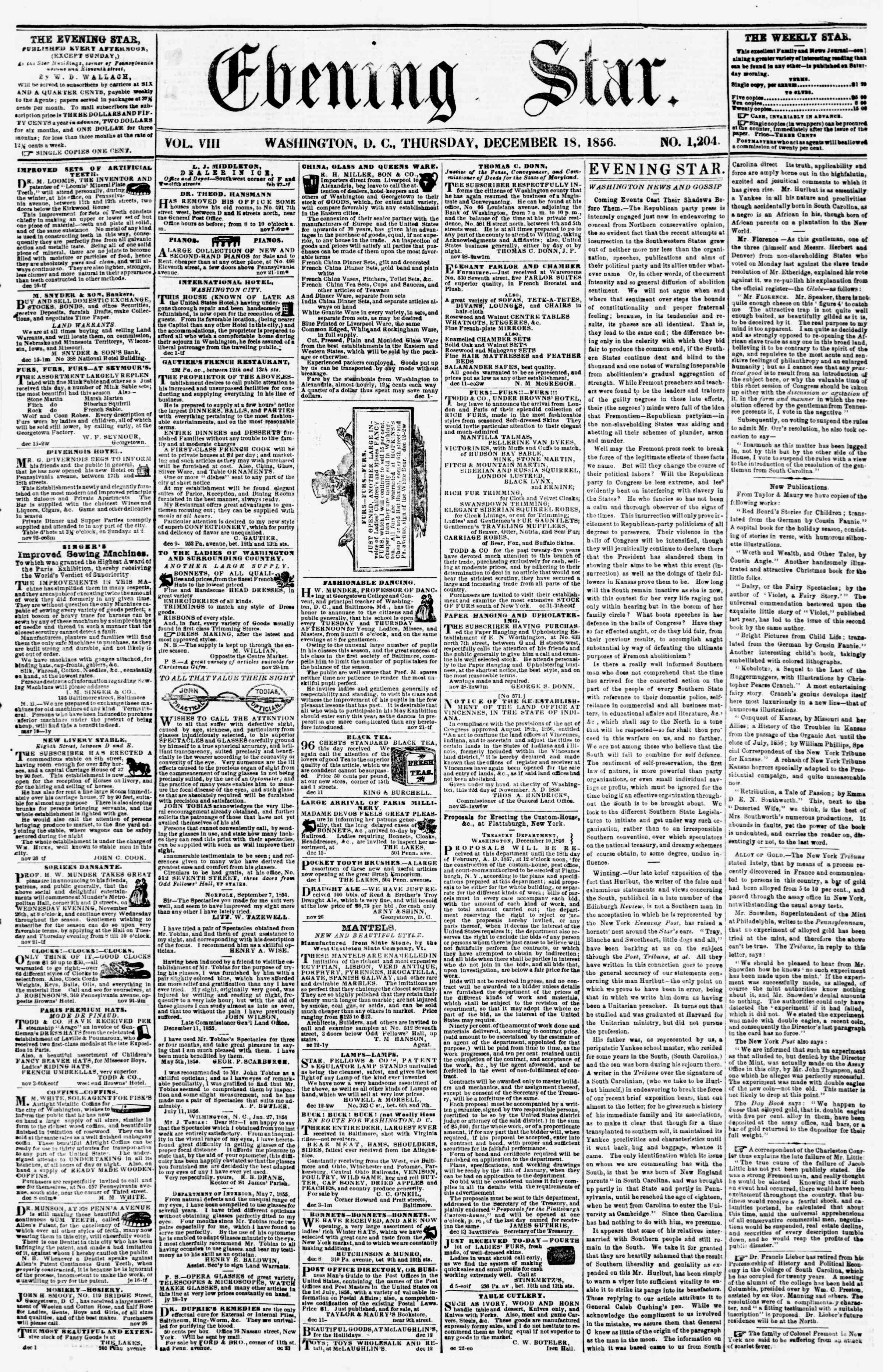 Newspaper of Evening Star dated December 18, 1856 Page 1