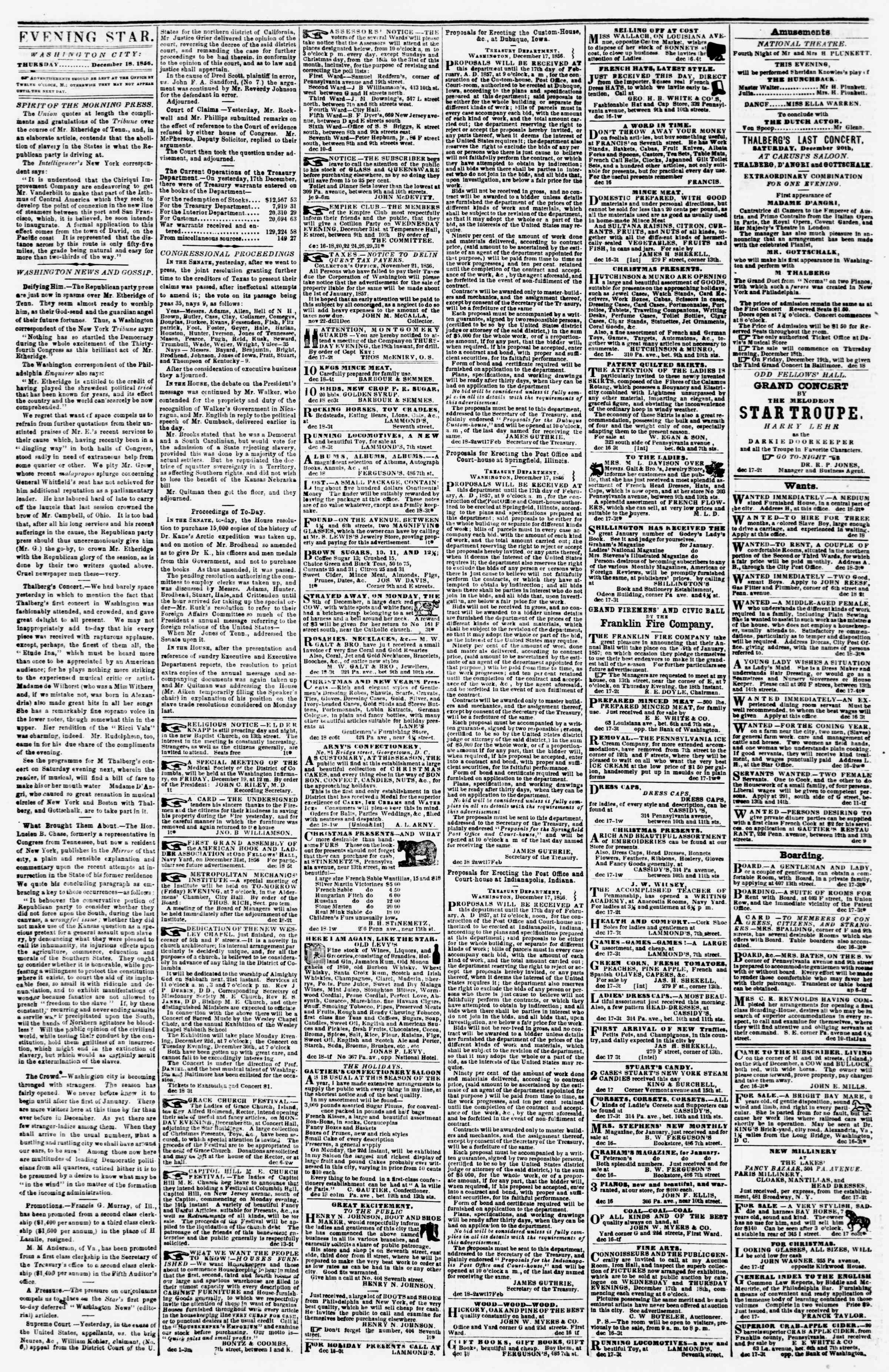 Newspaper of Evening Star dated December 18, 1856 Page 2