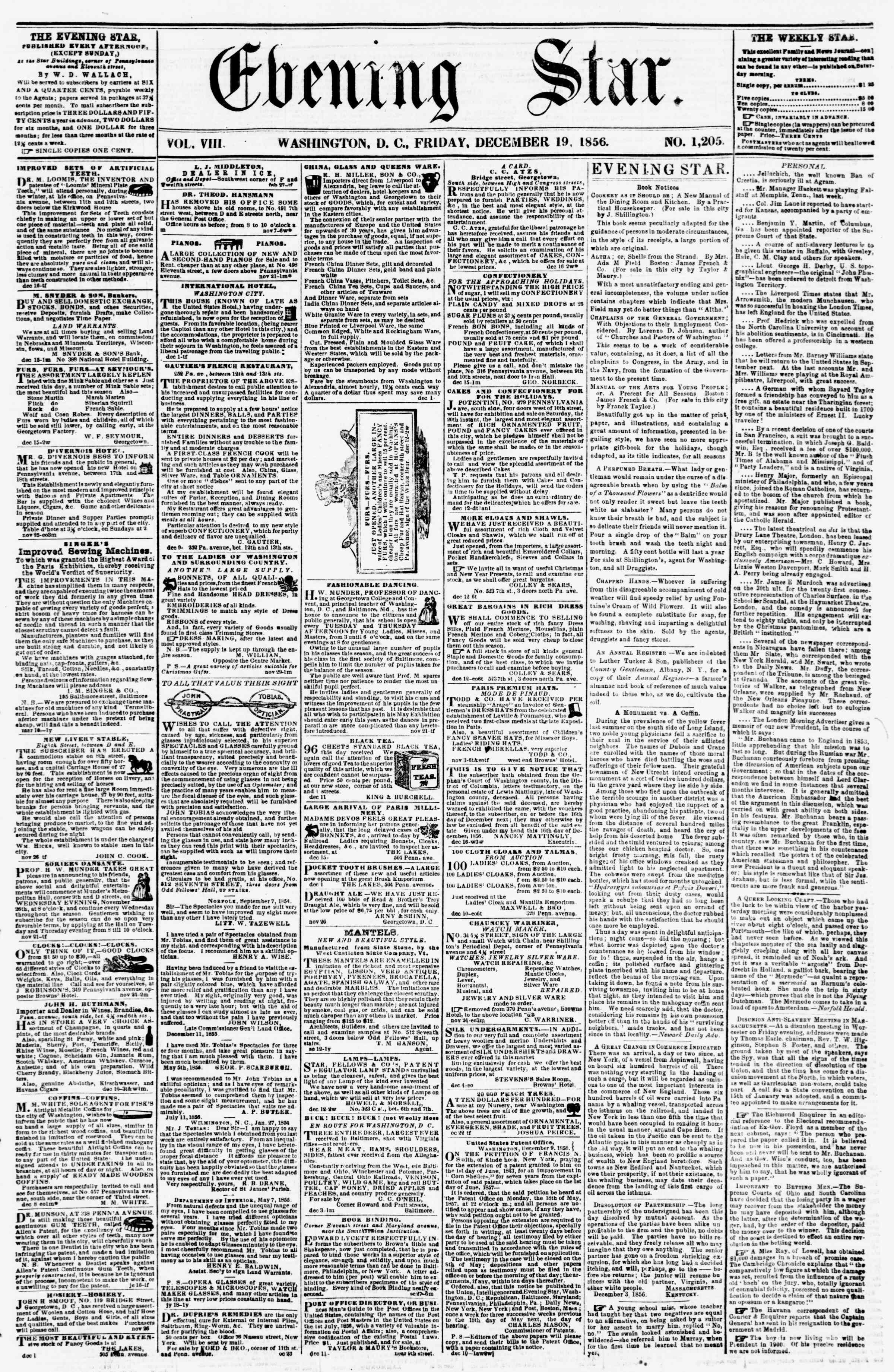 Newspaper of Evening Star dated December 19, 1856 Page 1