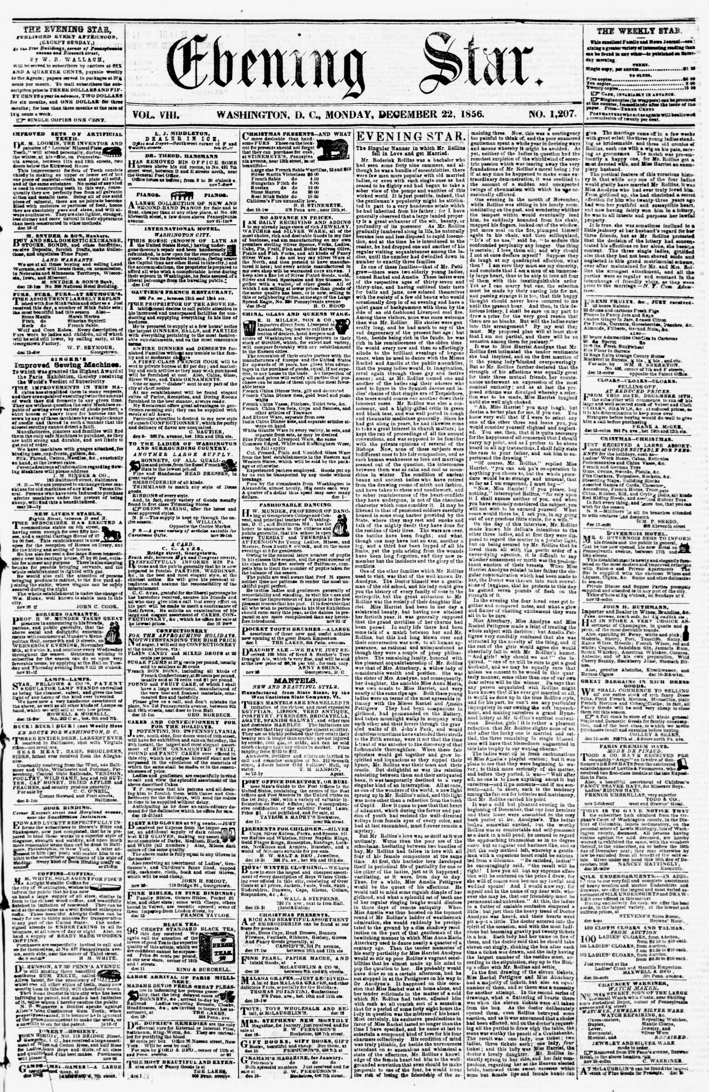 Newspaper of Evening Star dated December 22, 1856 Page 1