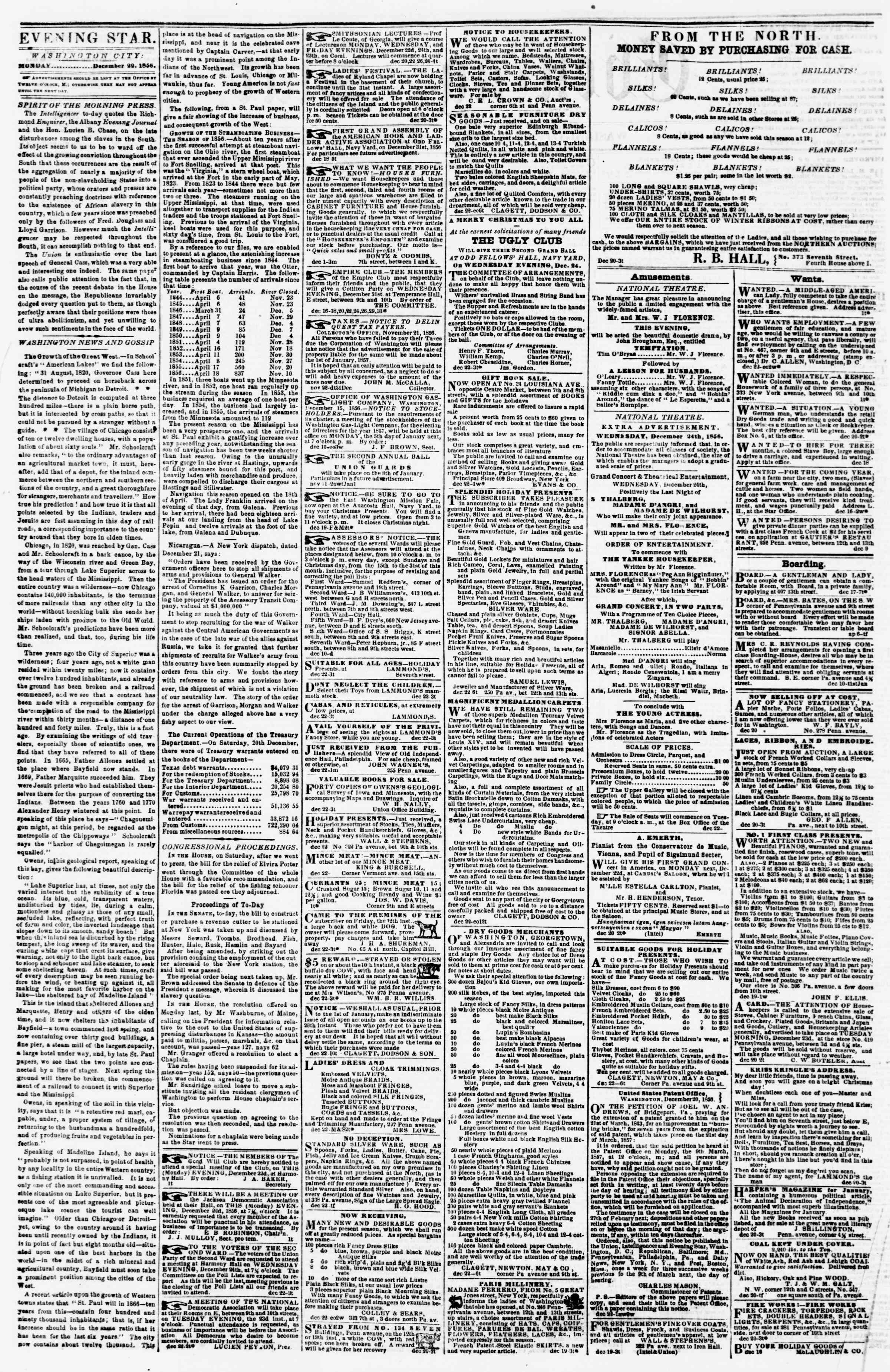 Newspaper of Evening Star dated December 22, 1856 Page 2