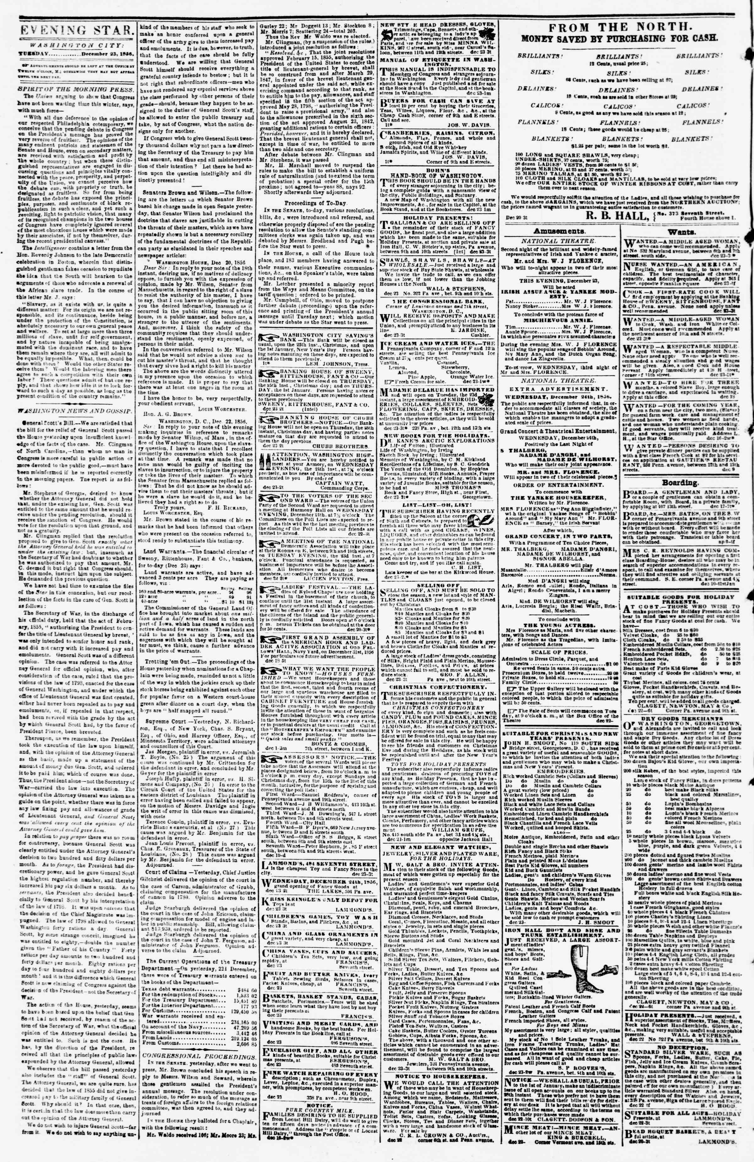 Newspaper of Evening Star dated December 23, 1856 Page 2