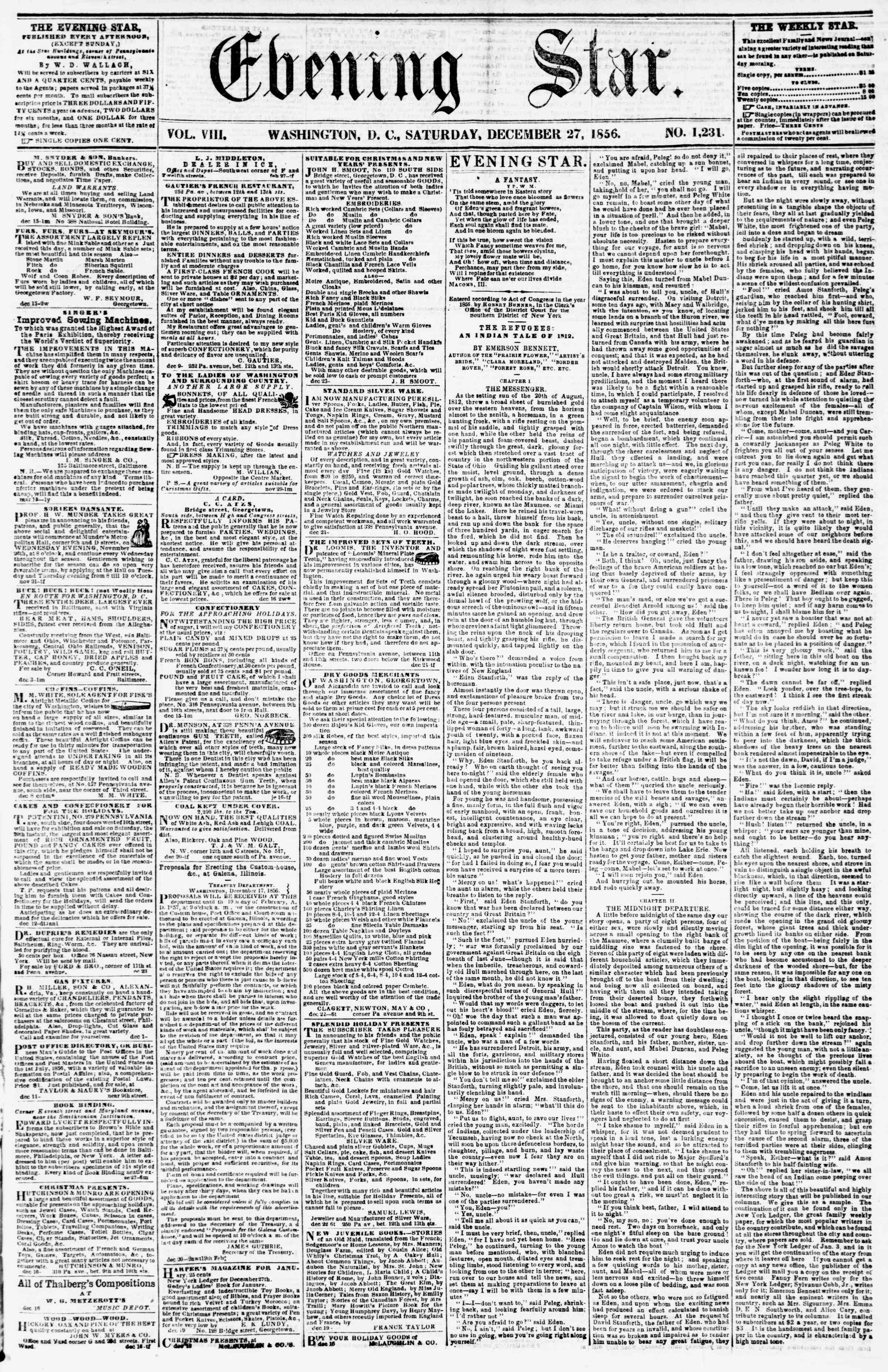 Newspaper of Evening Star dated December 27, 1856 Page 1