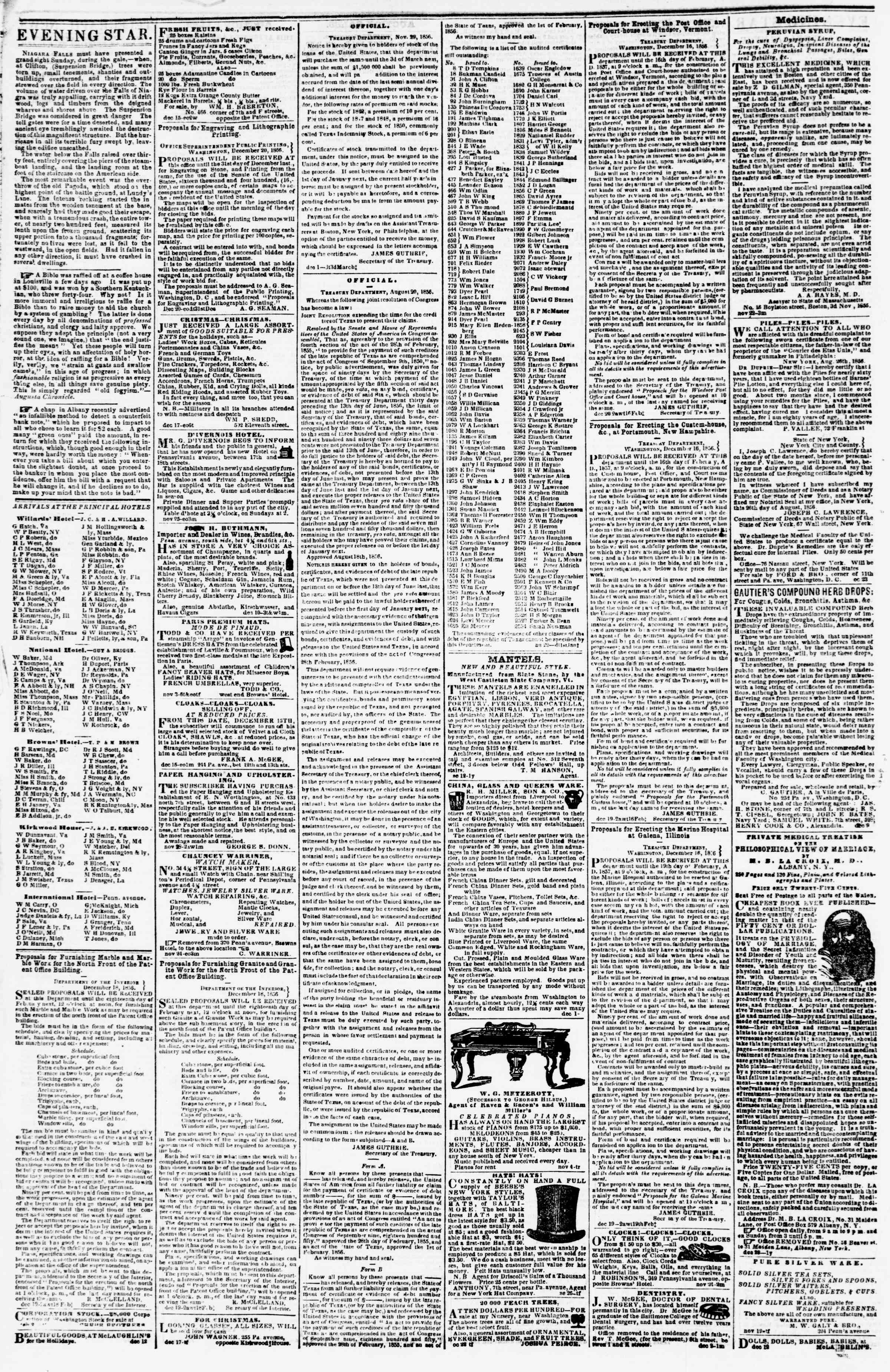 Newspaper of Evening Star dated December 27, 1856 Page 4
