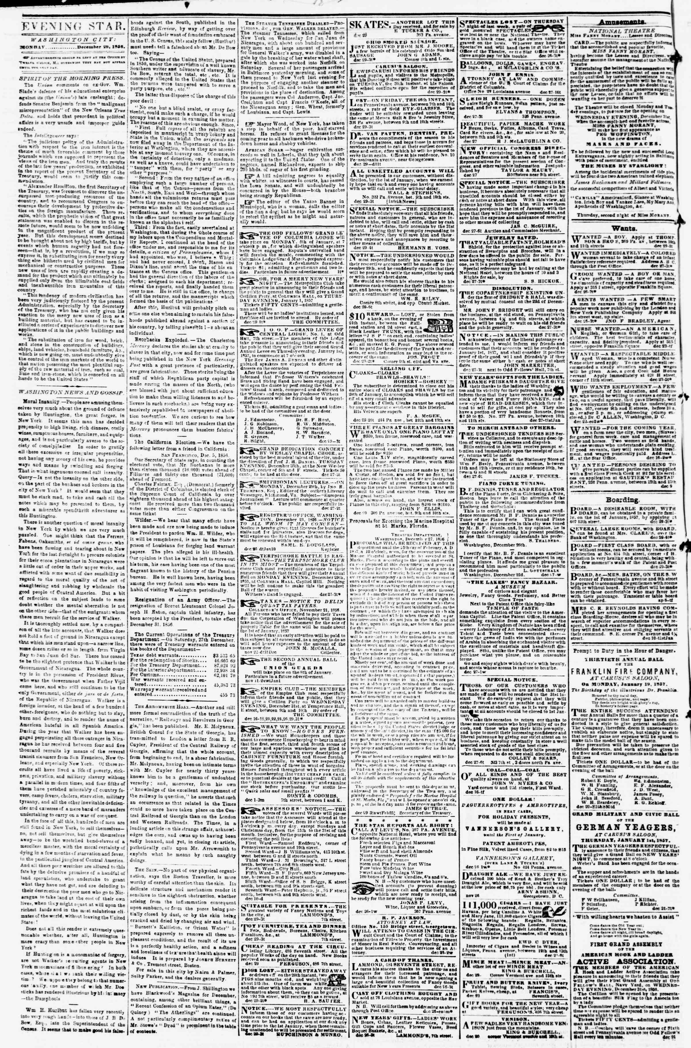 Newspaper of Evening Star dated December 29, 1856 Page 2