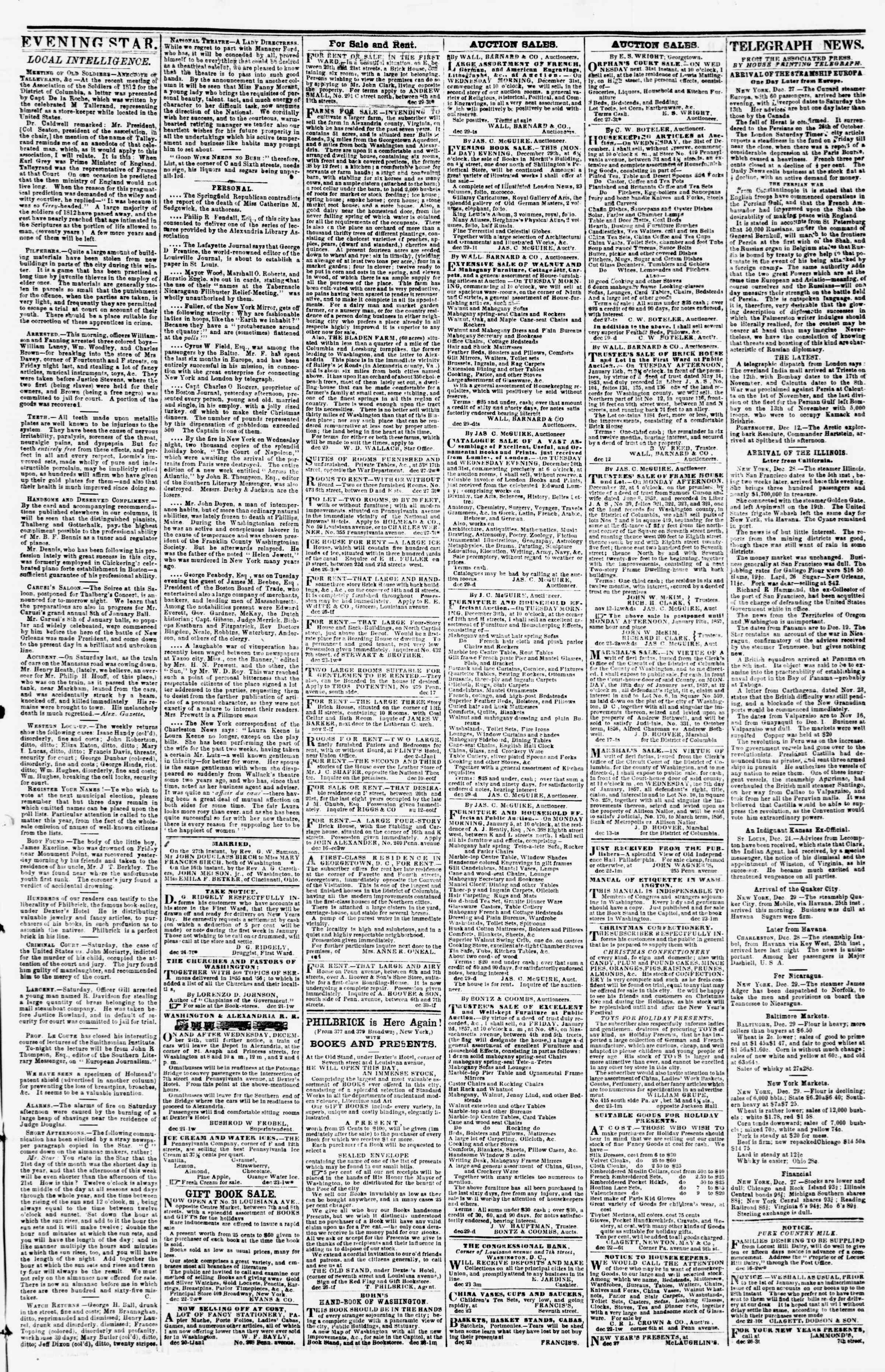 Newspaper of Evening Star dated December 29, 1856 Page 3