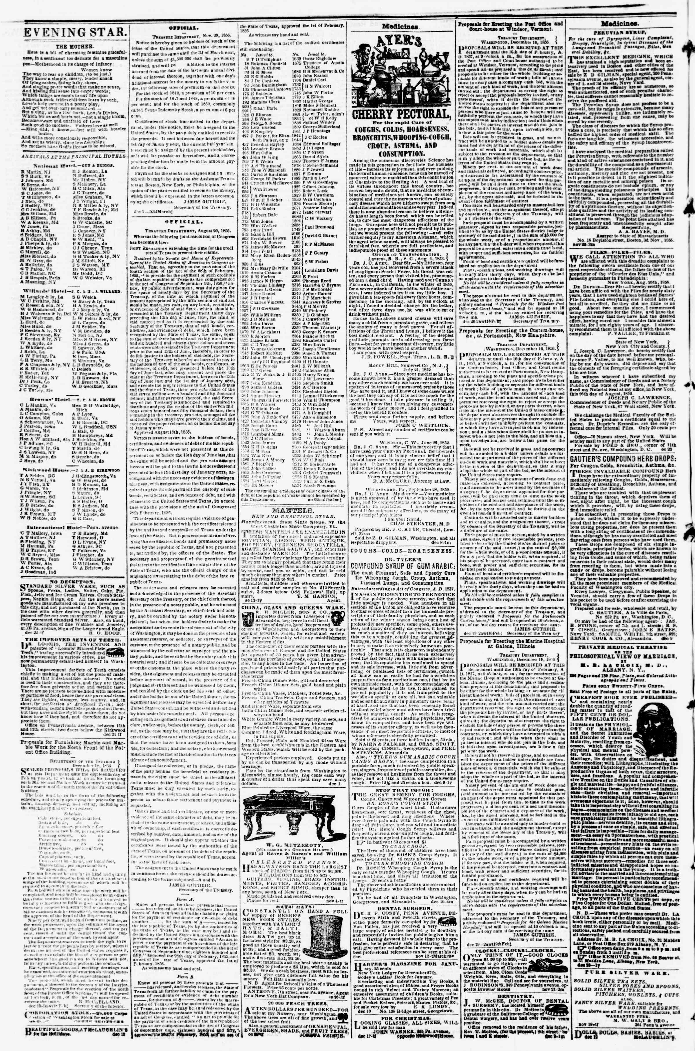 Newspaper of Evening Star dated December 29, 1856 Page 4