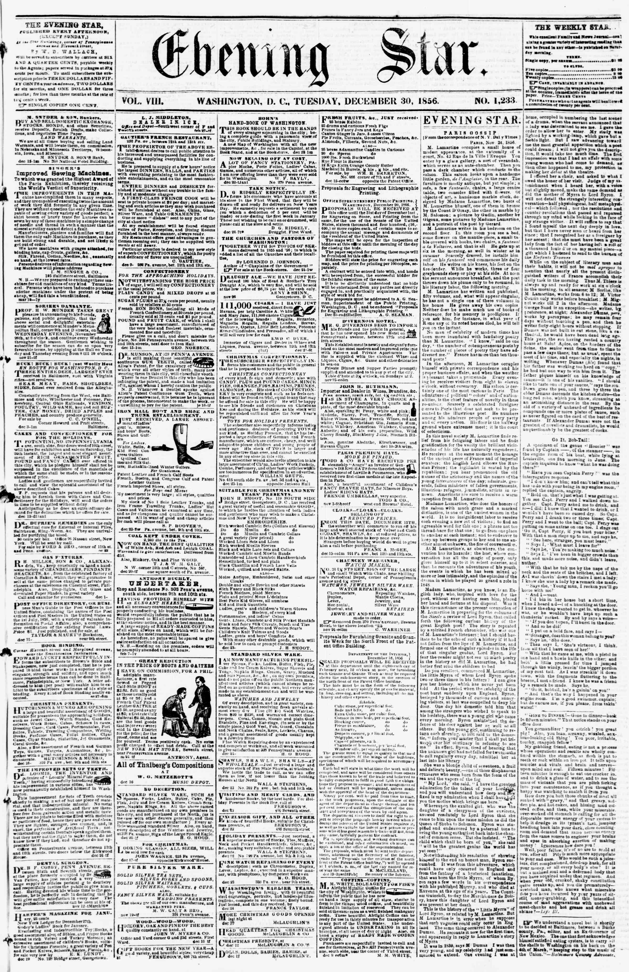 Newspaper of Evening Star dated December 30, 1856 Page 1