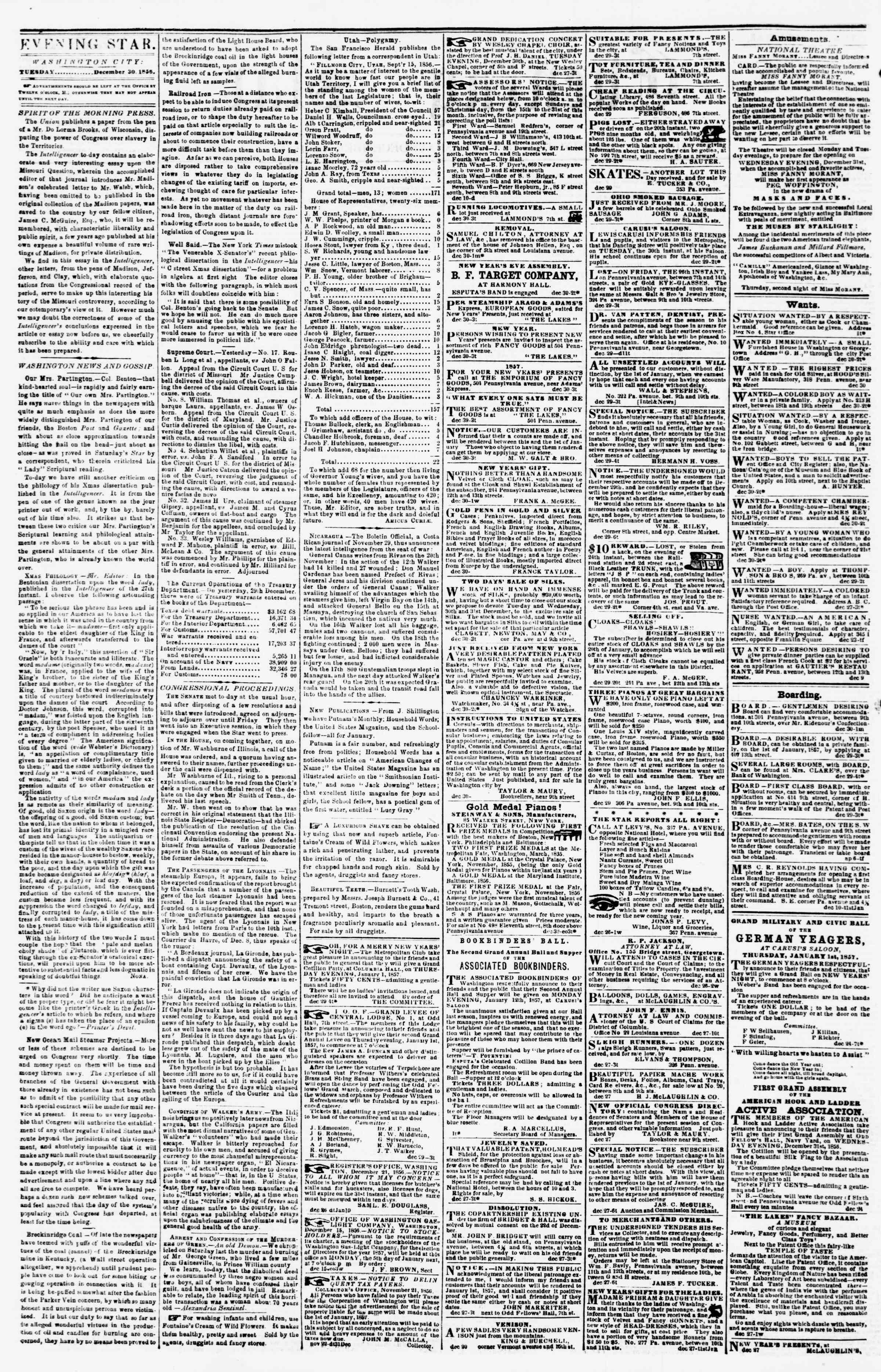 Newspaper of Evening Star dated December 30, 1856 Page 2