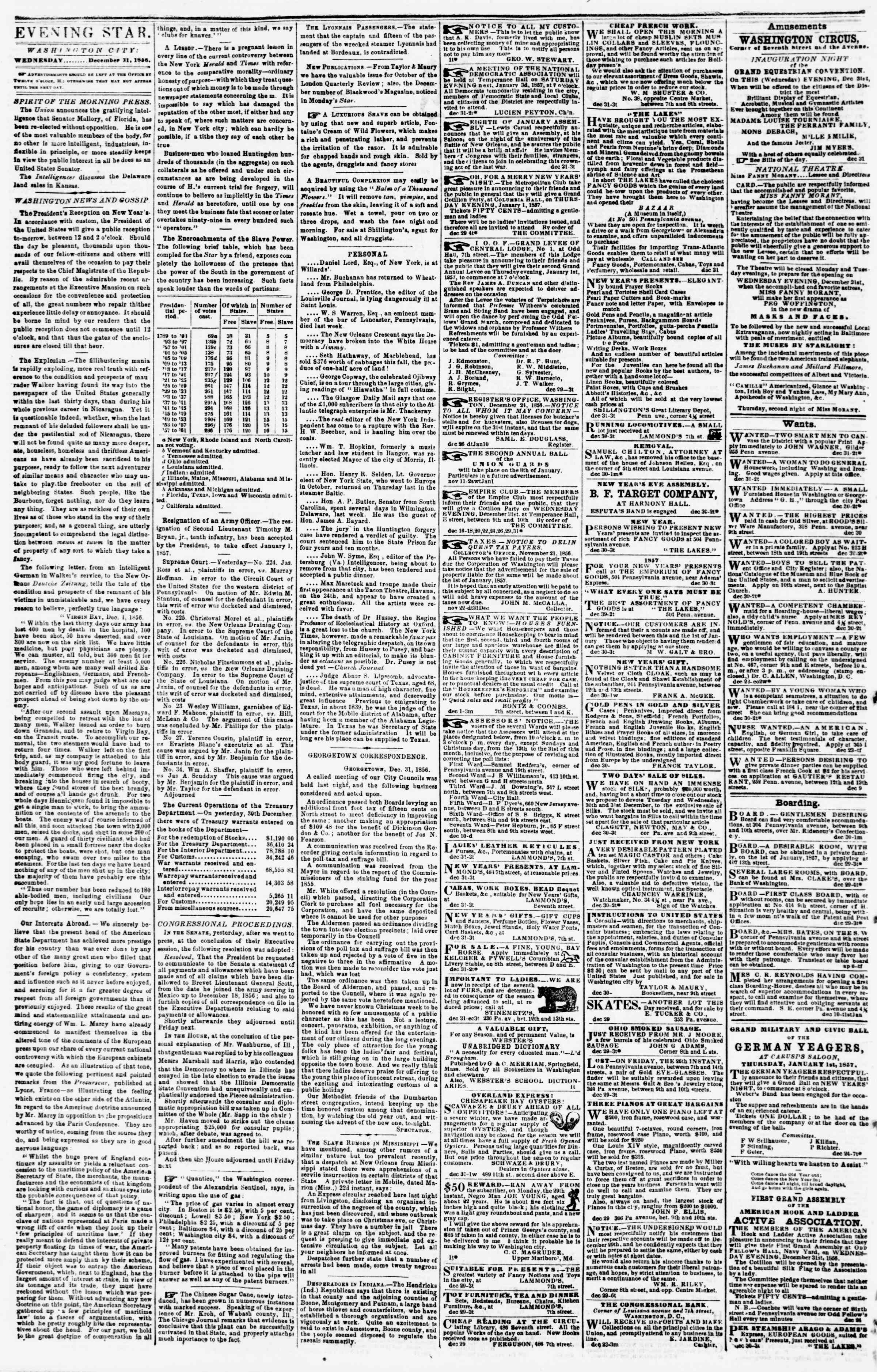 Newspaper of Evening Star dated December 31, 1856 Page 2