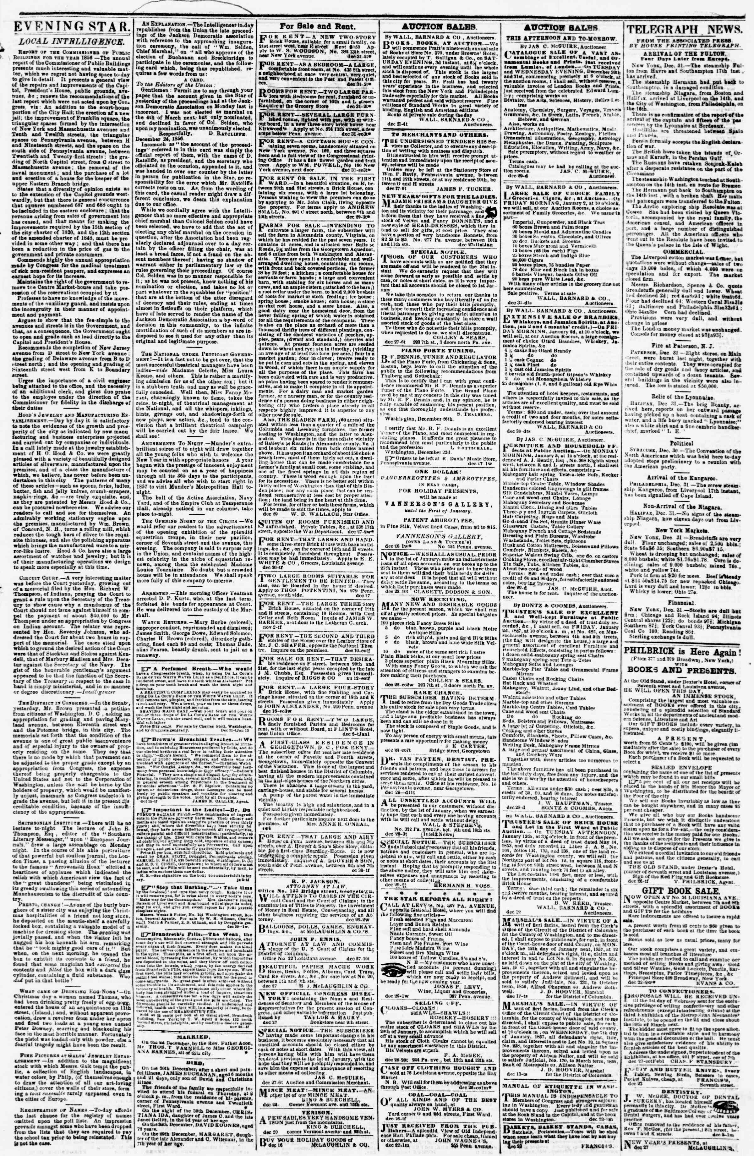 Newspaper of Evening Star dated December 31, 1856 Page 3