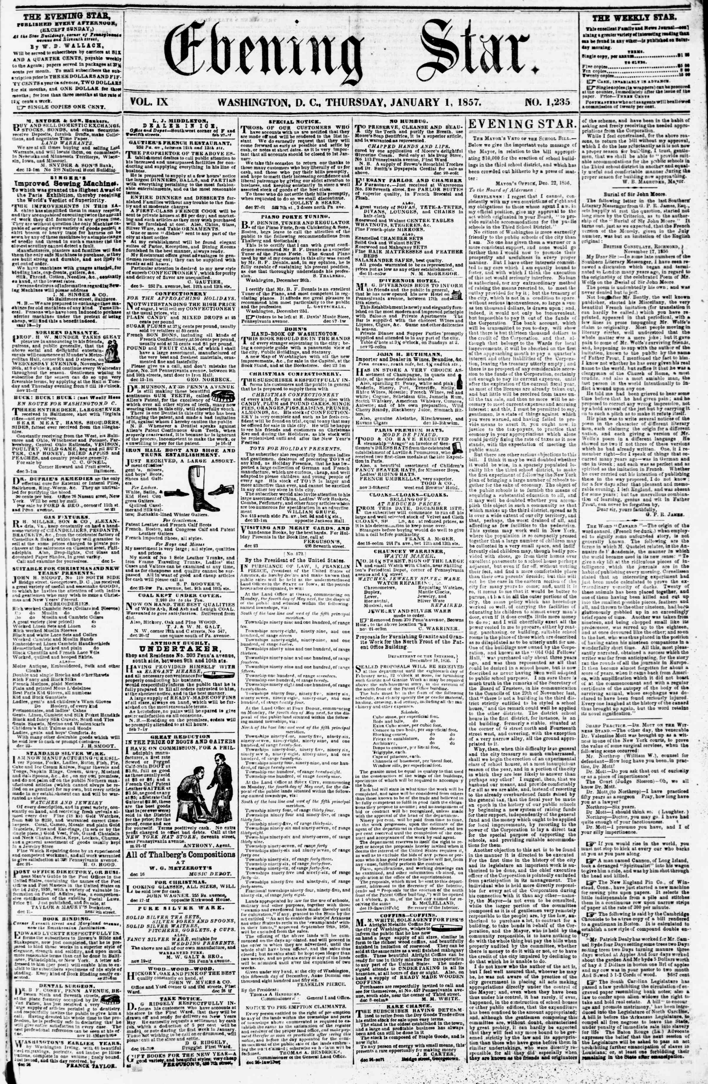 Newspaper of Evening Star dated January 1, 1857 Page 1
