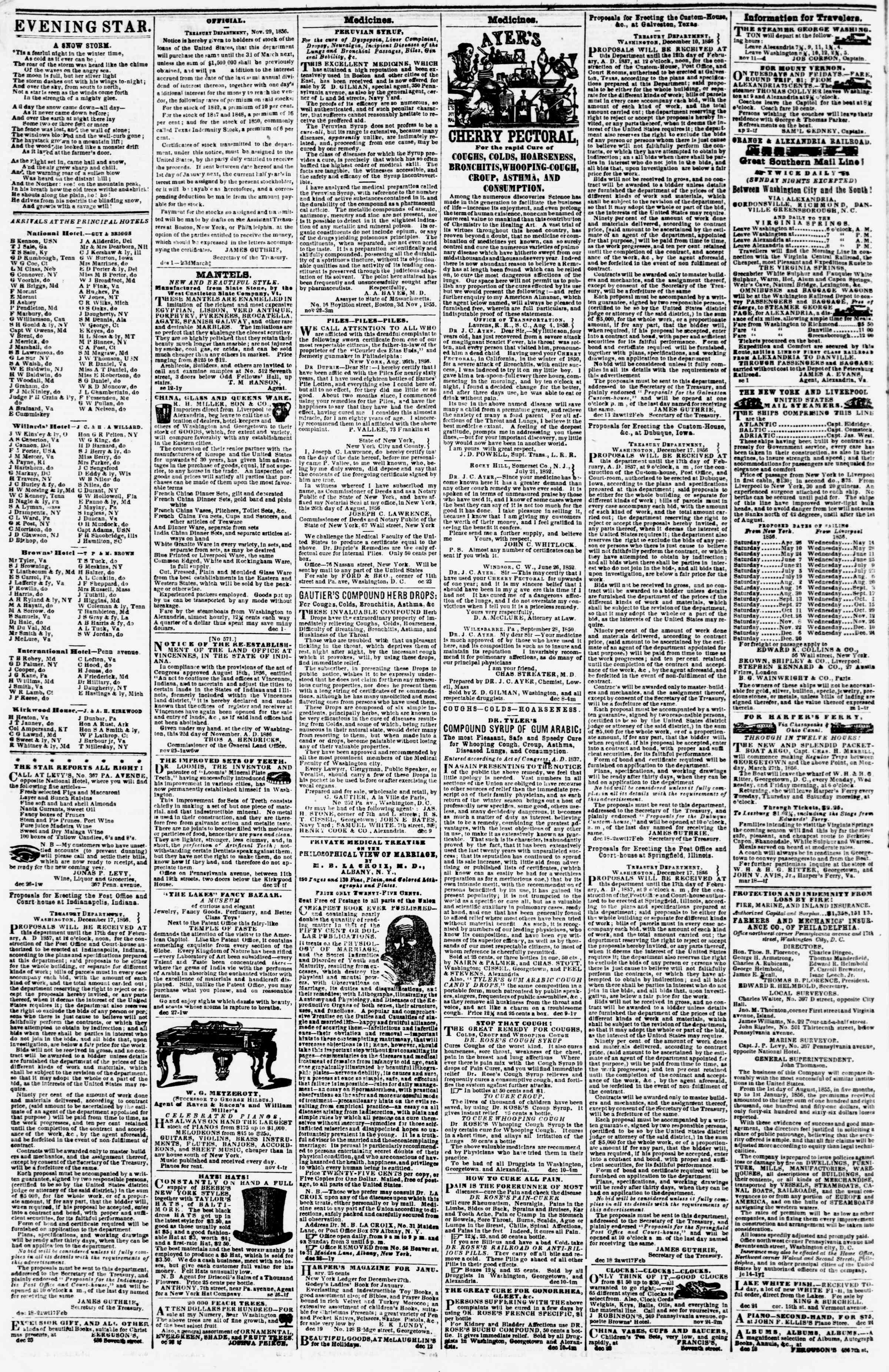 Newspaper of Evening Star dated January 1, 1857 Page 4