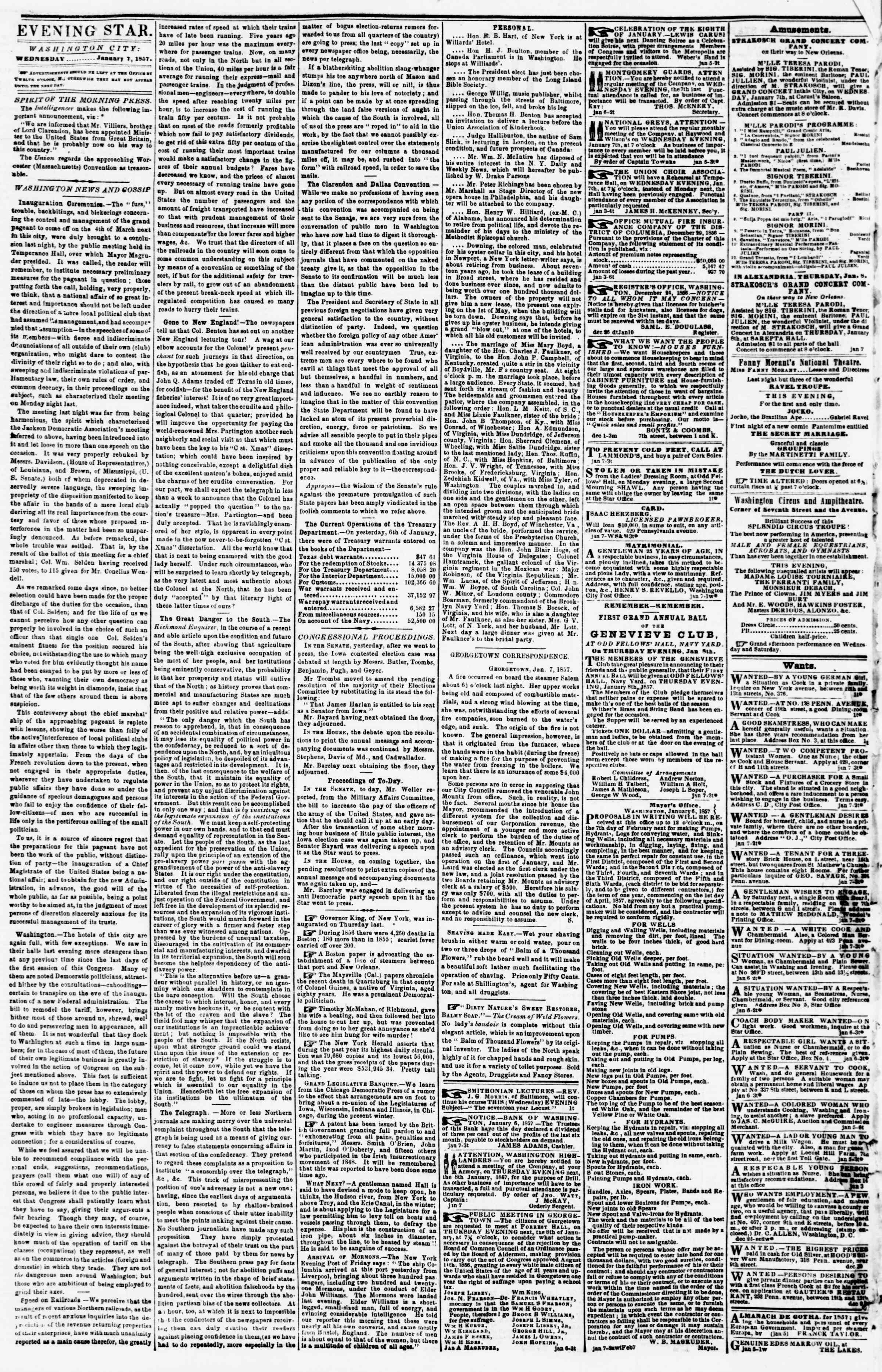 Newspaper of Evening Star dated January 7, 1857 Page 2
