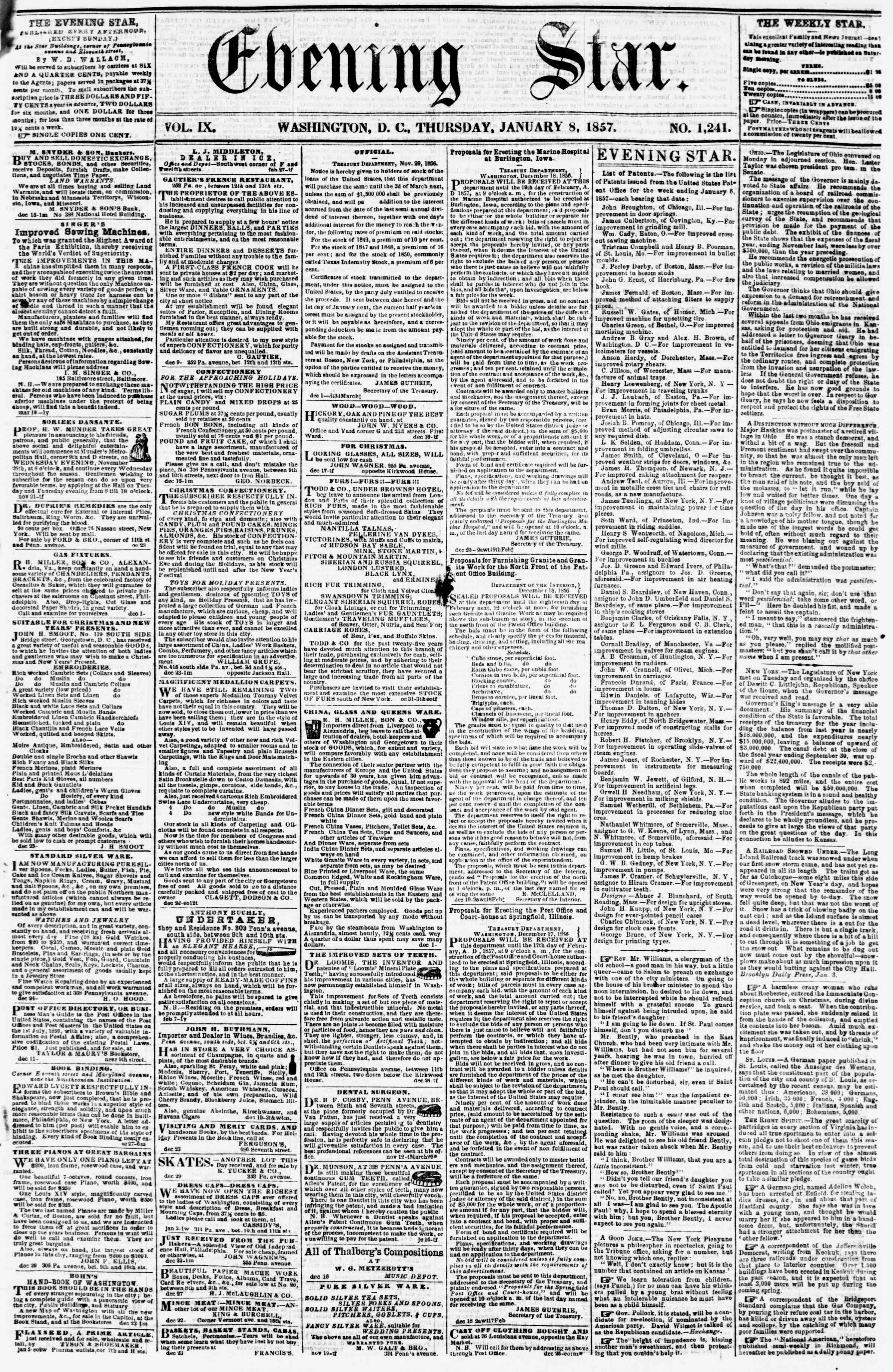 Newspaper of Evening Star dated January 8, 1857 Page 1