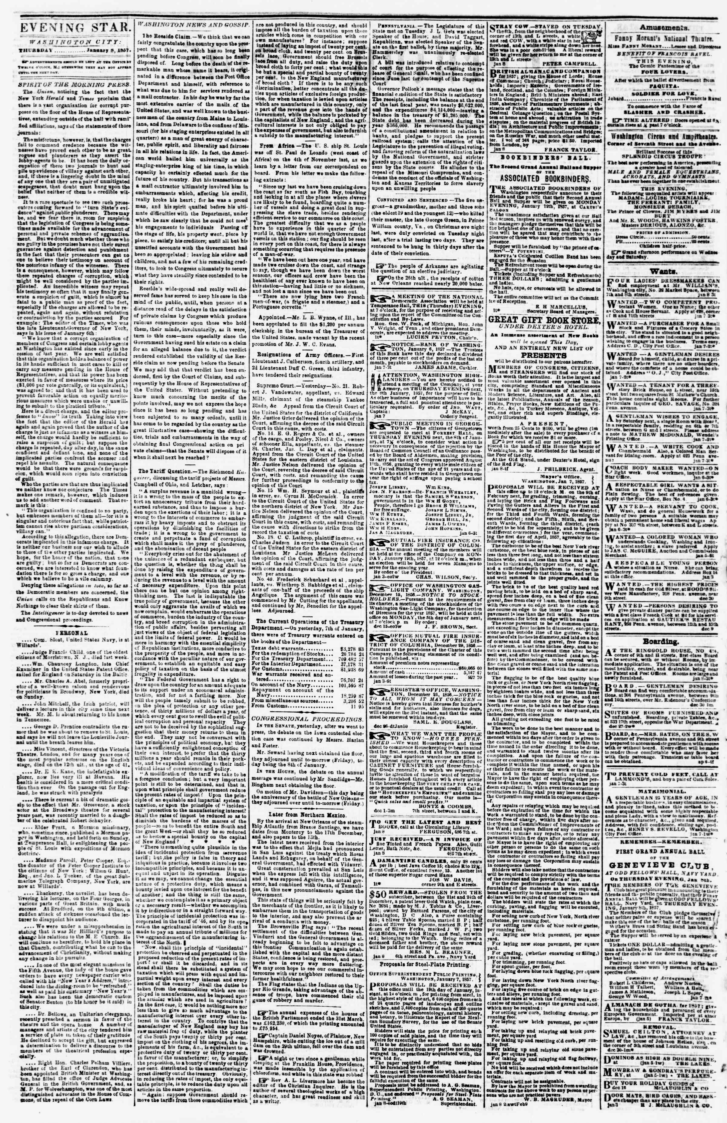 Newspaper of Evening Star dated January 8, 1857 Page 2