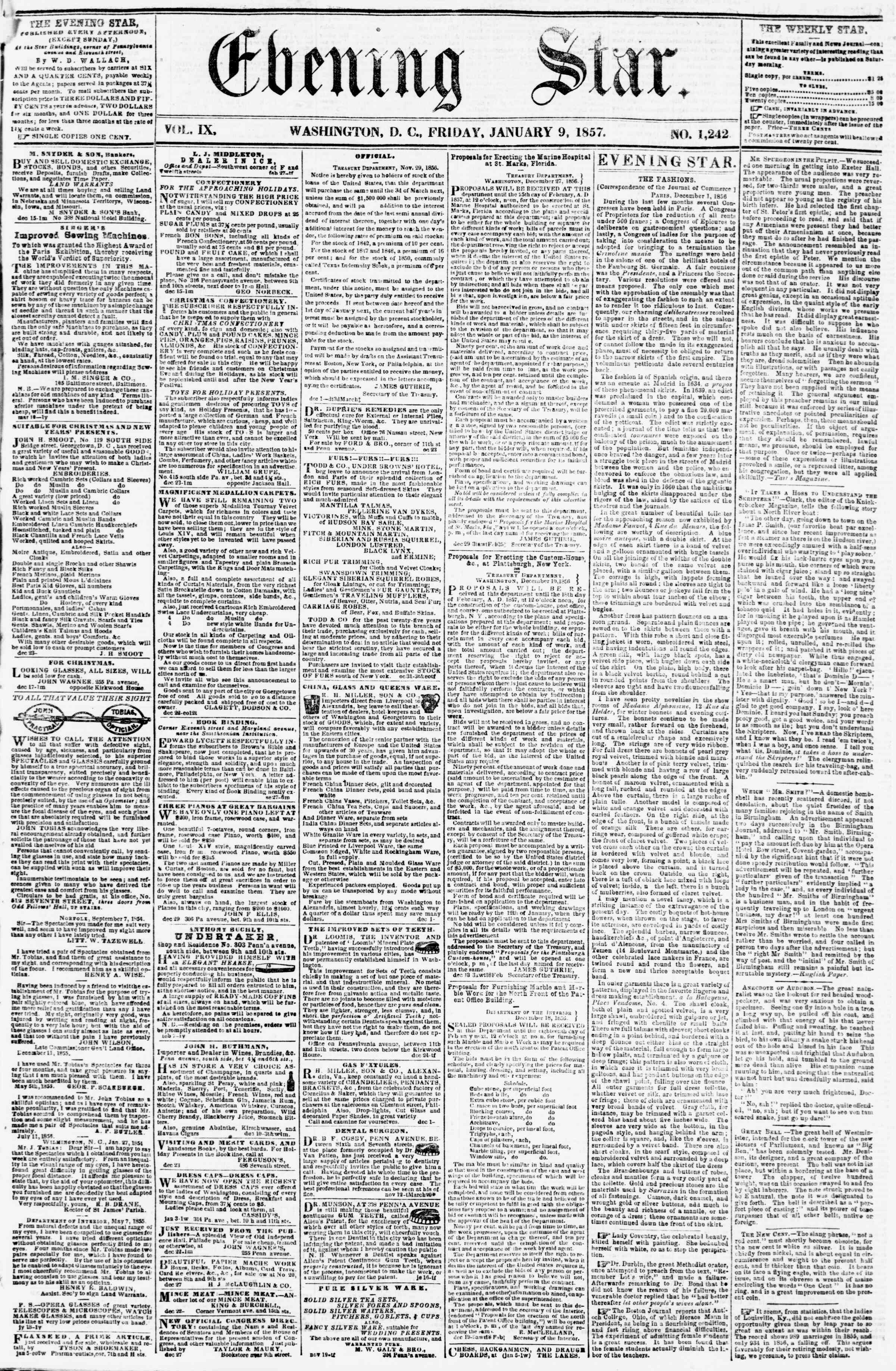 Newspaper of Evening Star dated January 9, 1857 Page 1