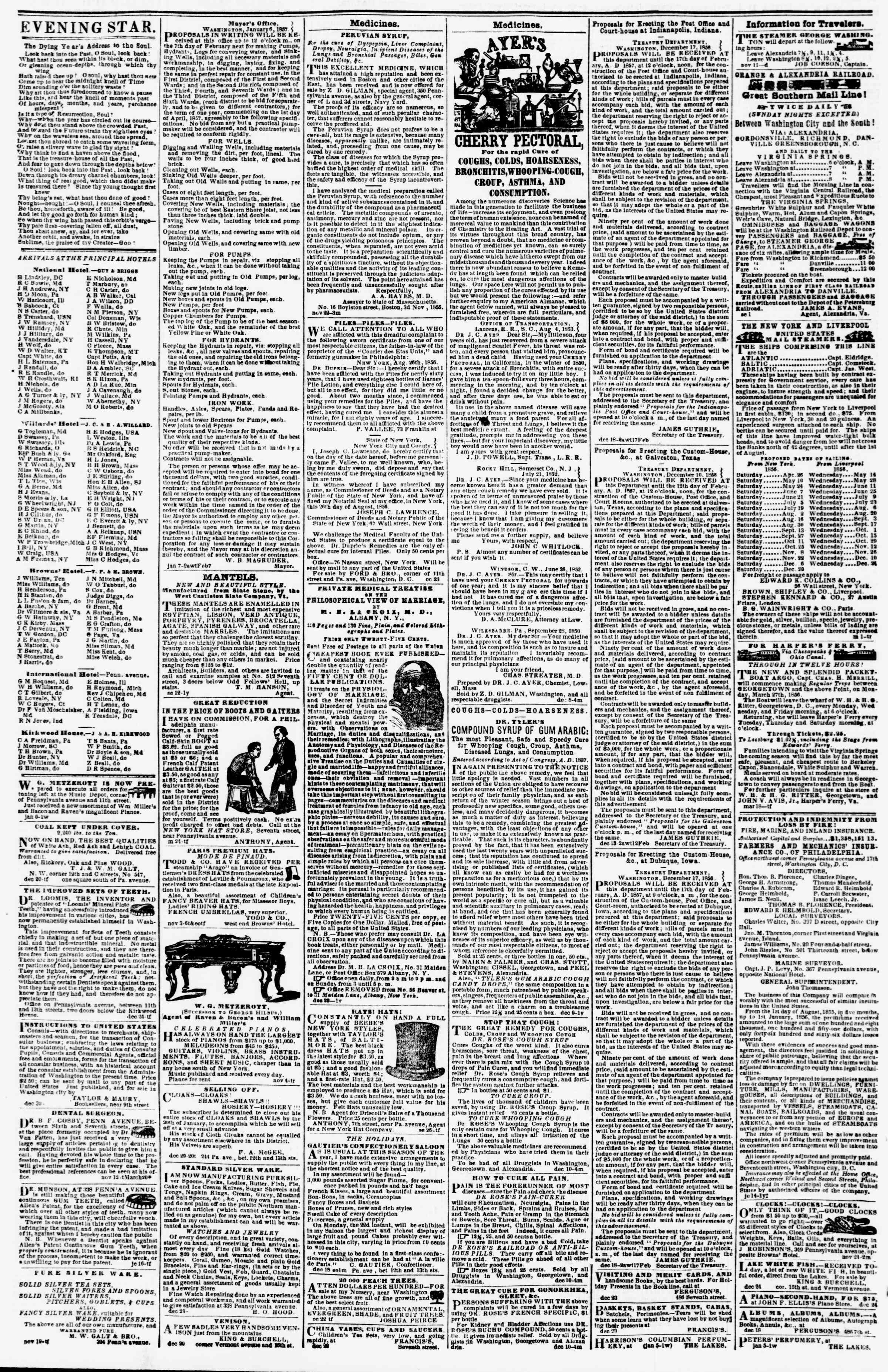 Newspaper of Evening Star dated January 10, 1857 Page 4