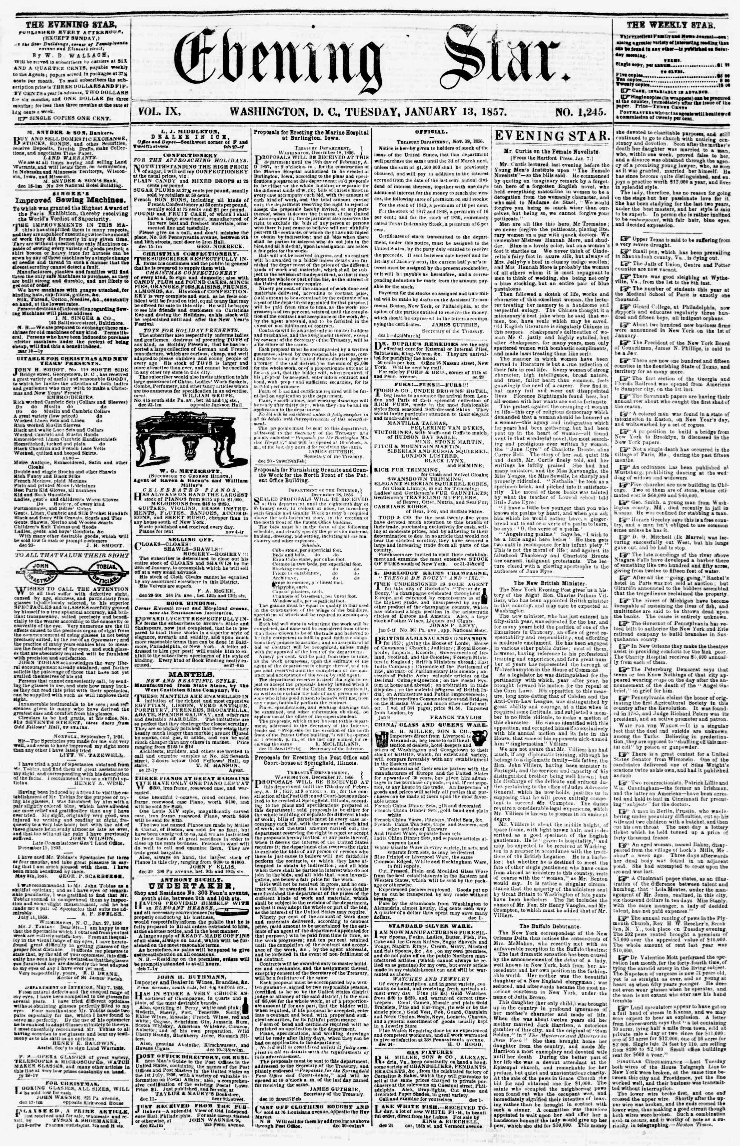 Newspaper of Evening Star dated January 13, 1857 Page 1