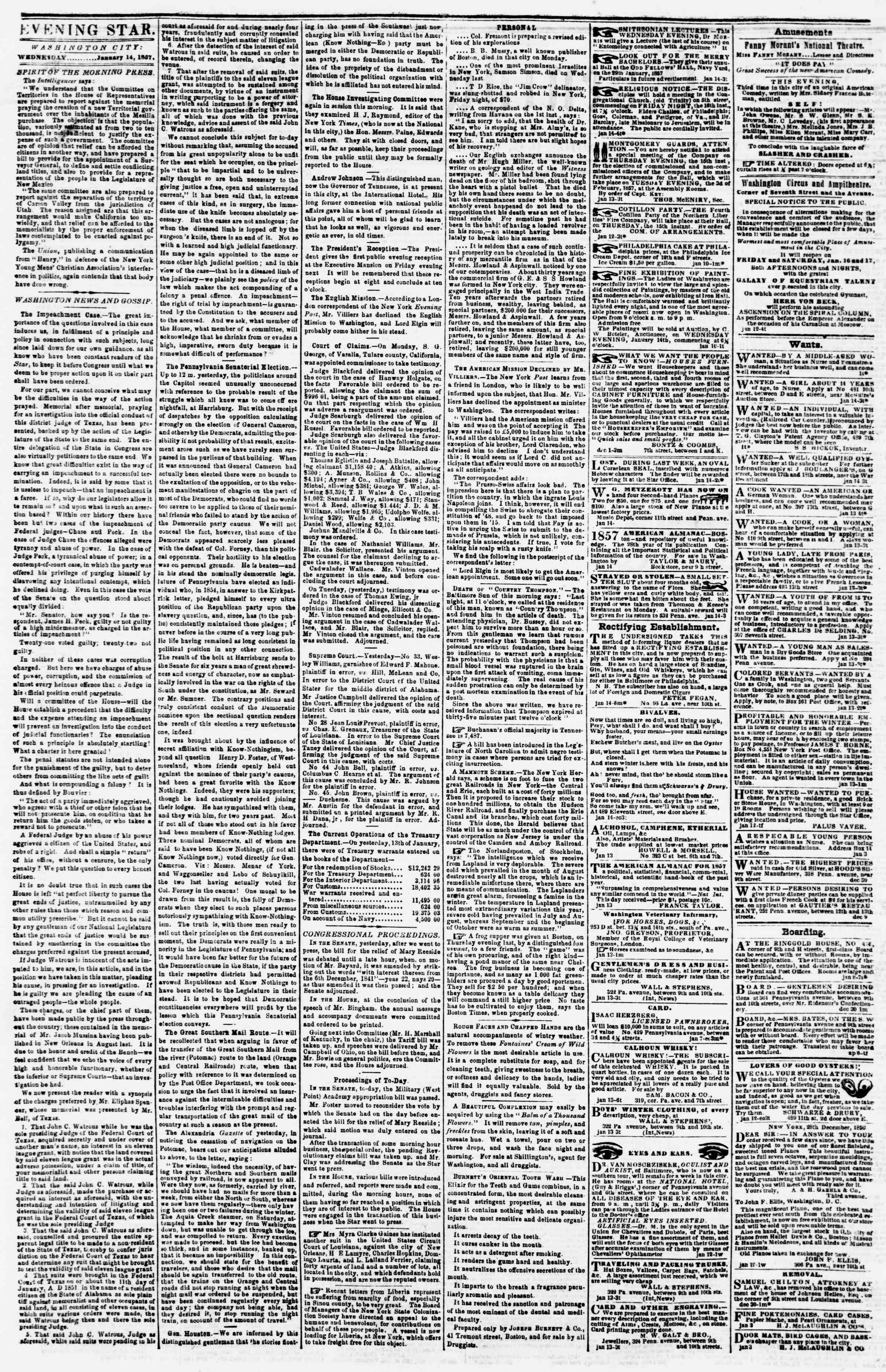 Newspaper of Evening Star dated January 14, 1857 Page 2