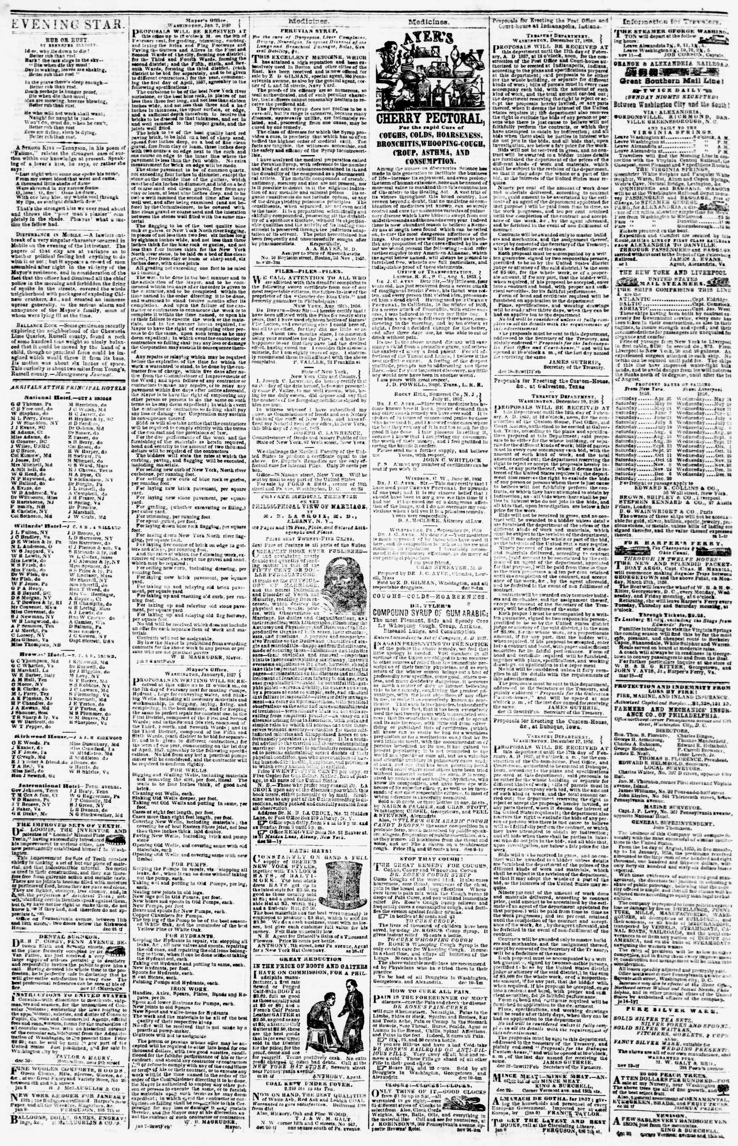 Newspaper of Evening Star dated January 14, 1857 Page 4