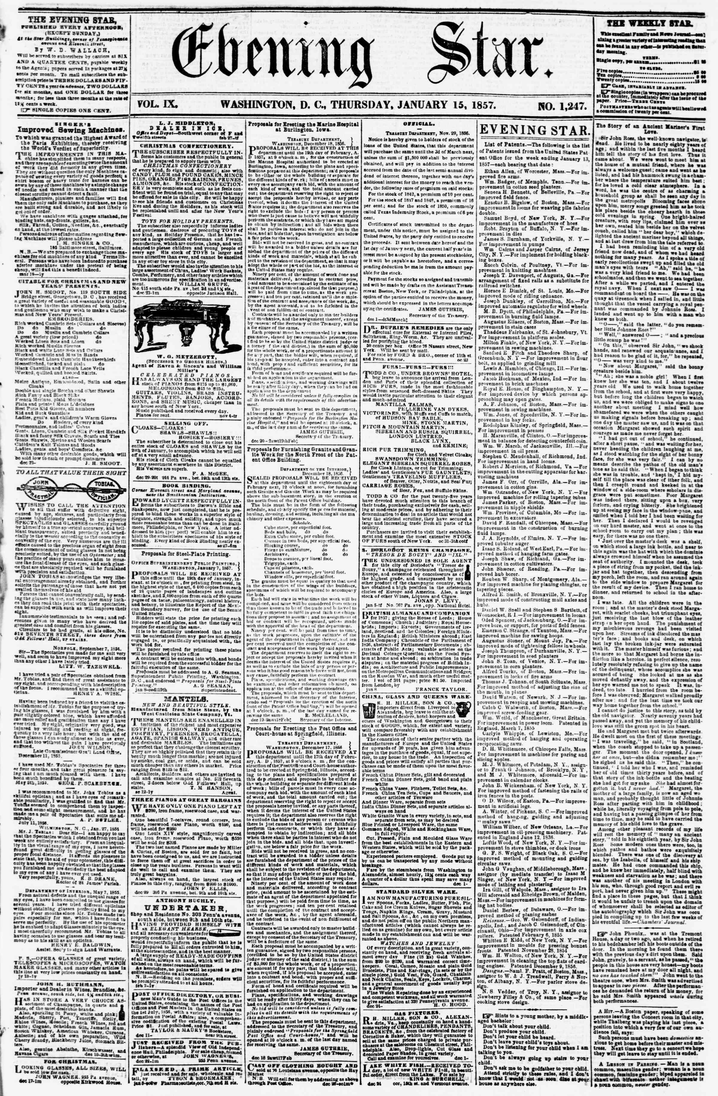 Newspaper of Evening Star dated January 15, 1857 Page 1