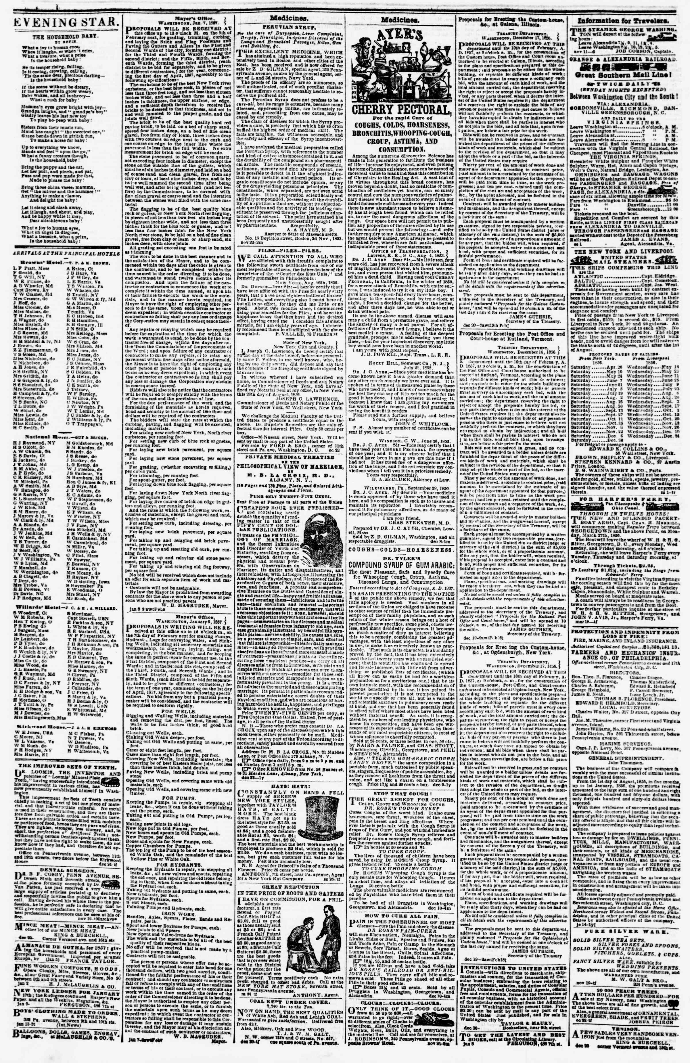 Newspaper of Evening Star dated January 15, 1857 Page 4