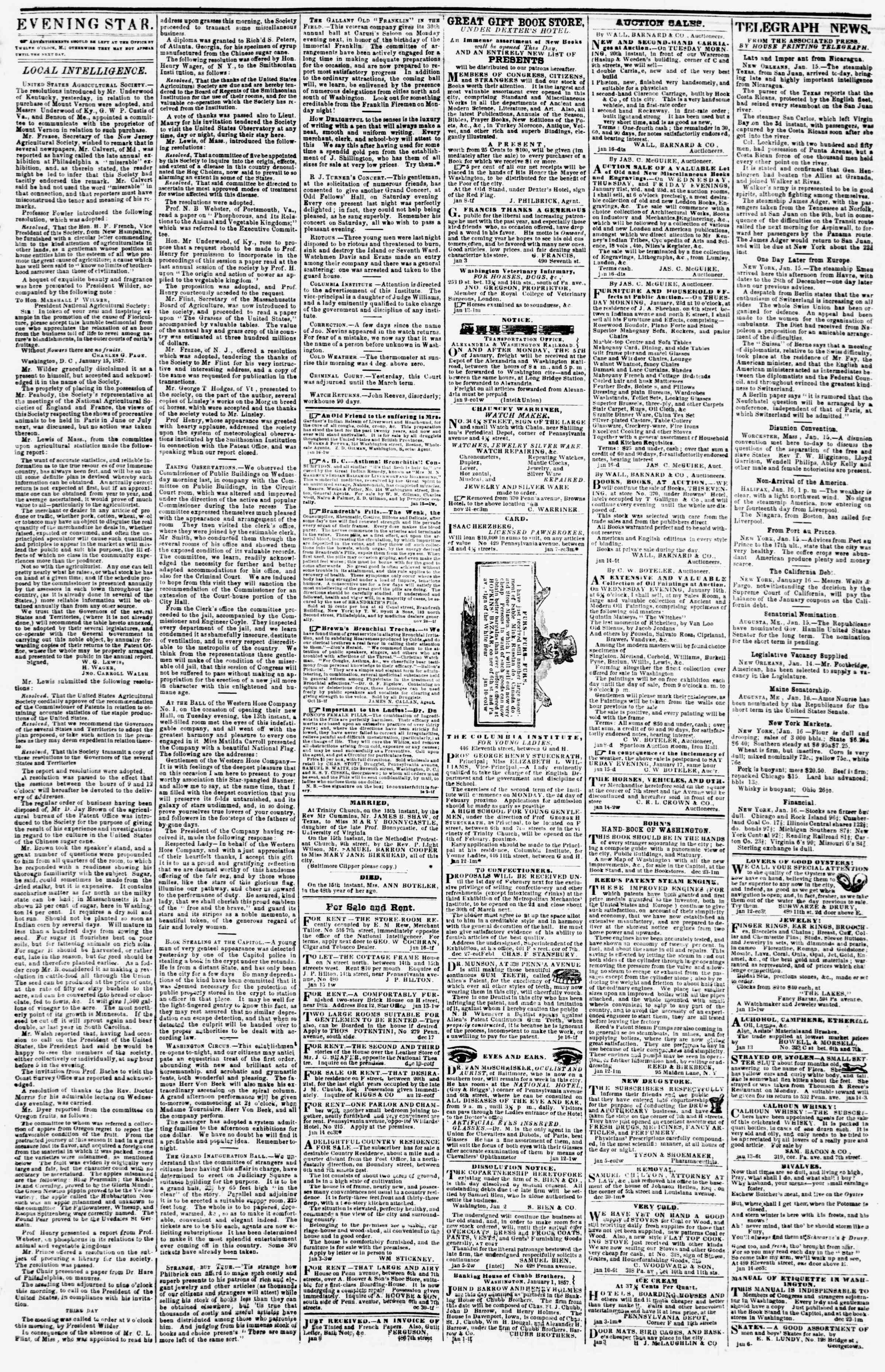 Newspaper of Evening Star dated January 16, 1857 Page 3