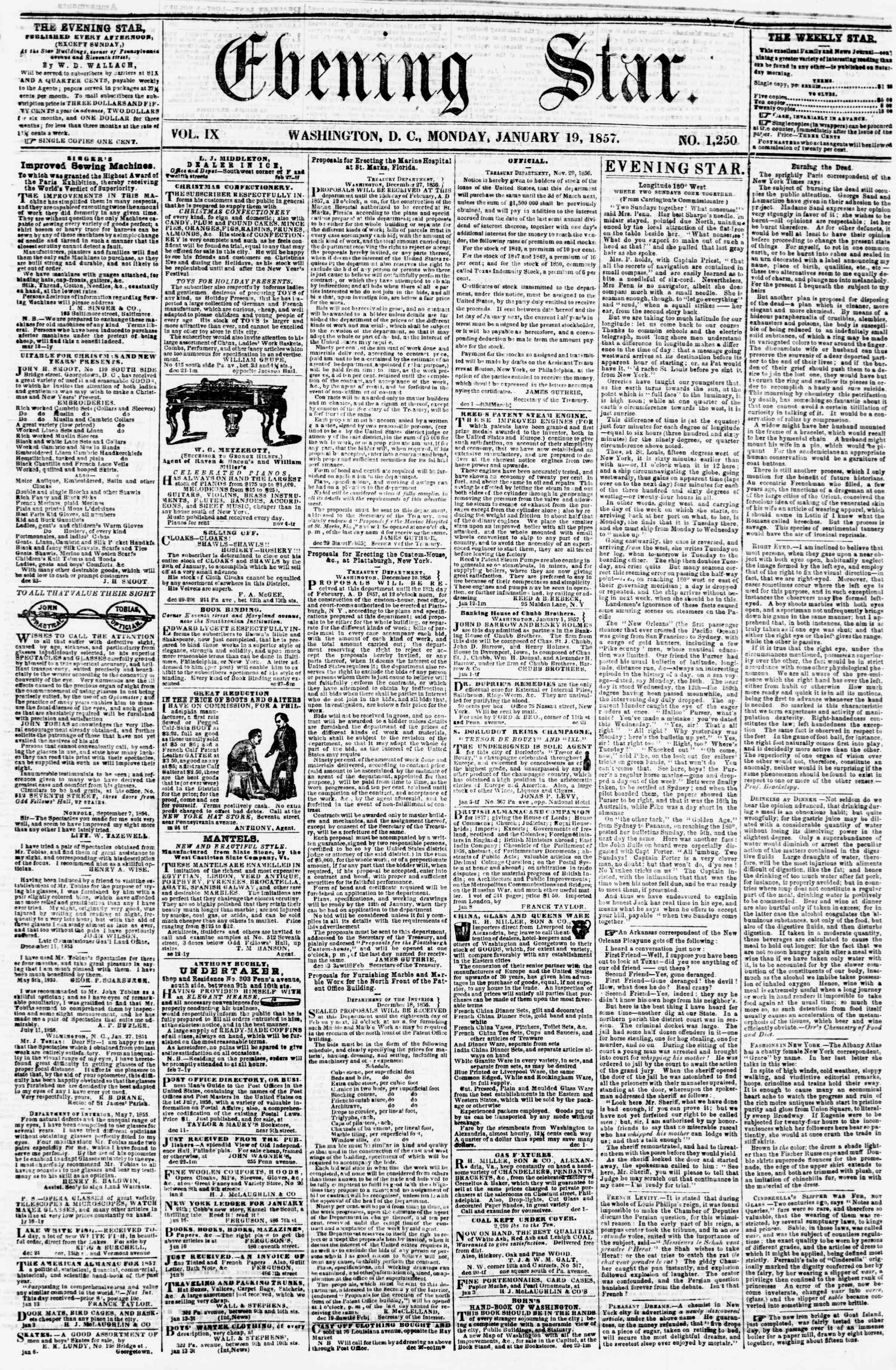 Newspaper of Evening Star dated January 19, 1857 Page 1