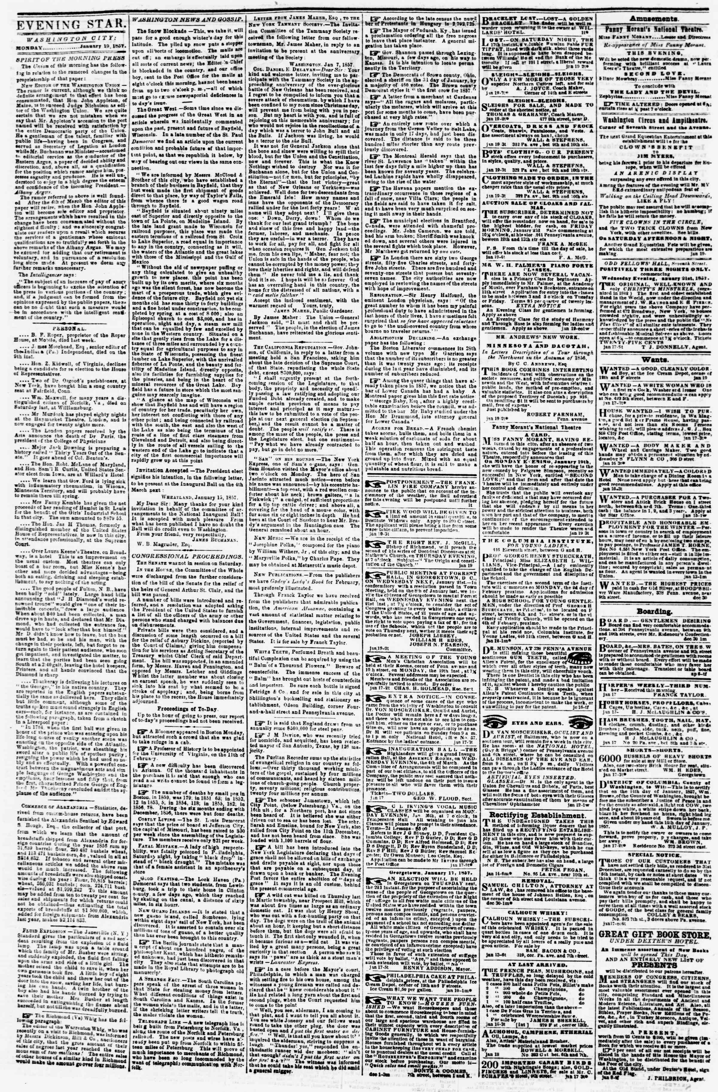 Newspaper of Evening Star dated January 19, 1857 Page 2