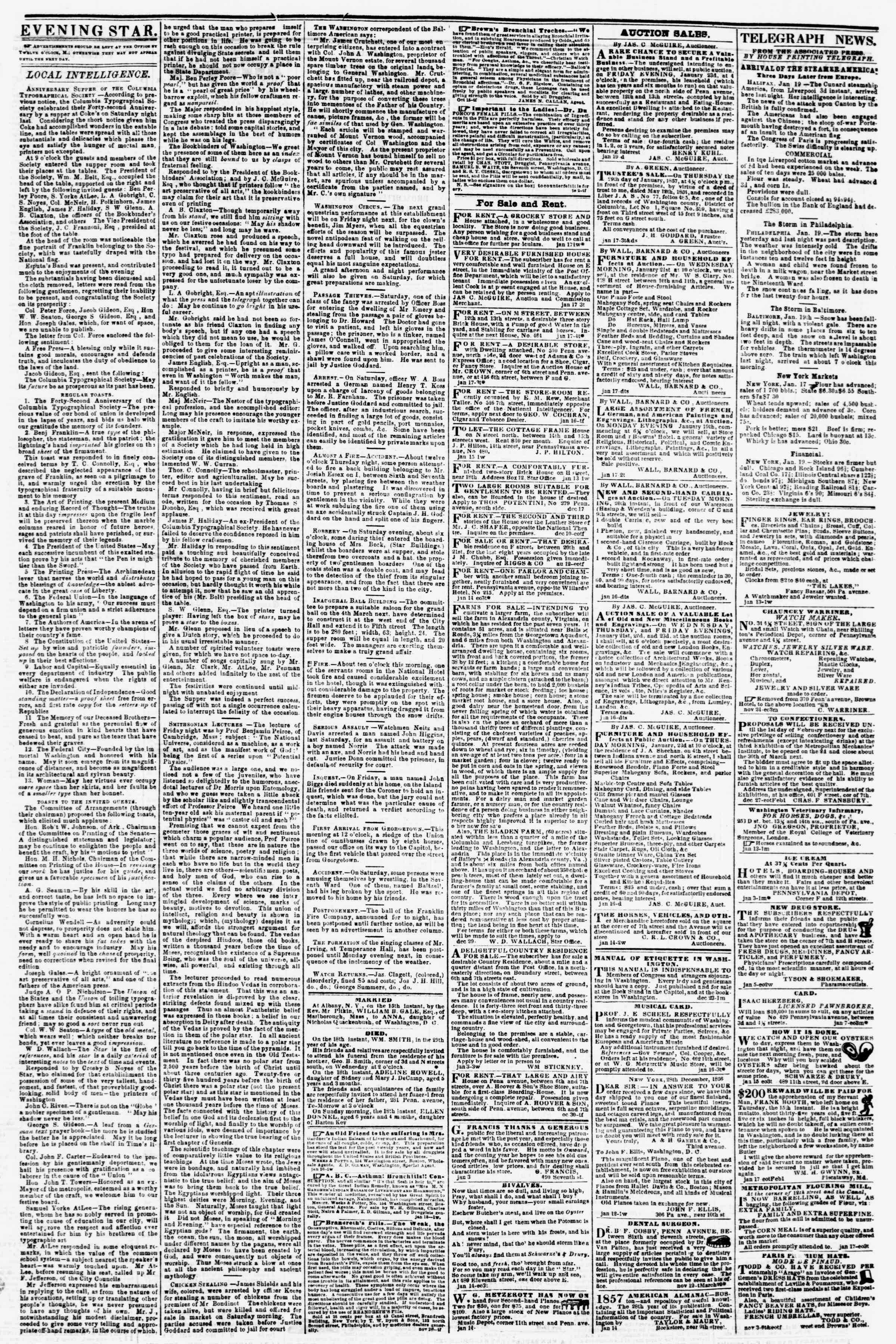 Newspaper of Evening Star dated January 19, 1857 Page 3