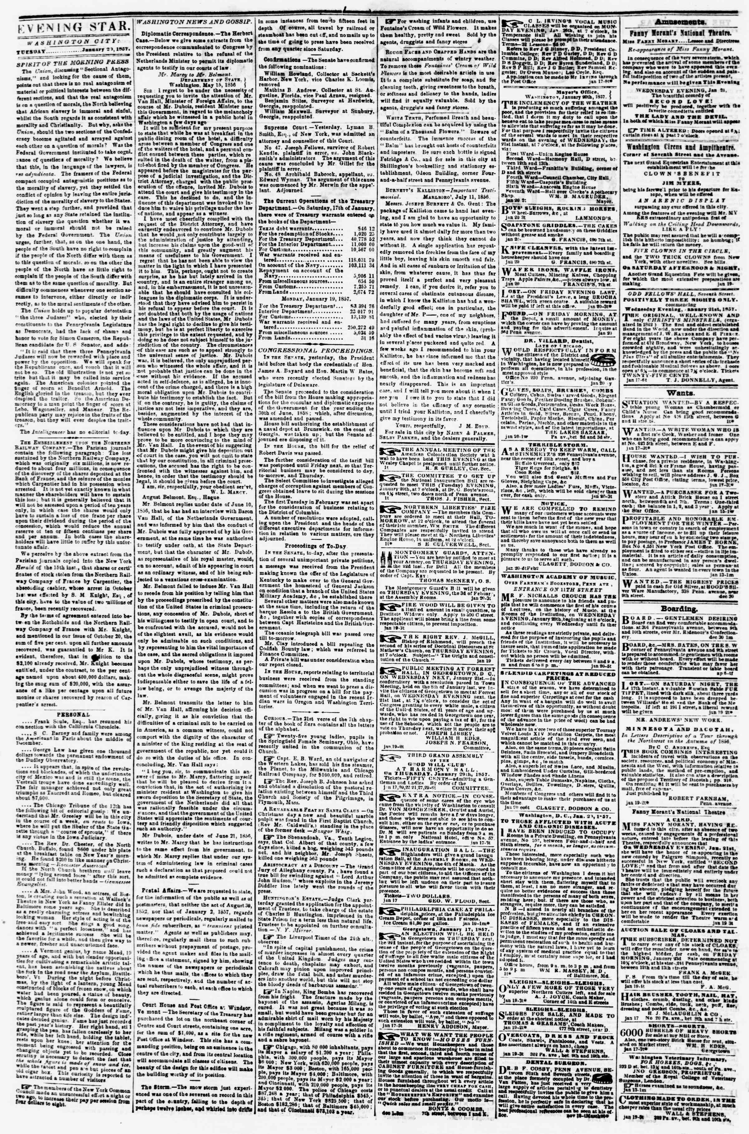 Newspaper of Evening Star dated January 20, 1857 Page 2