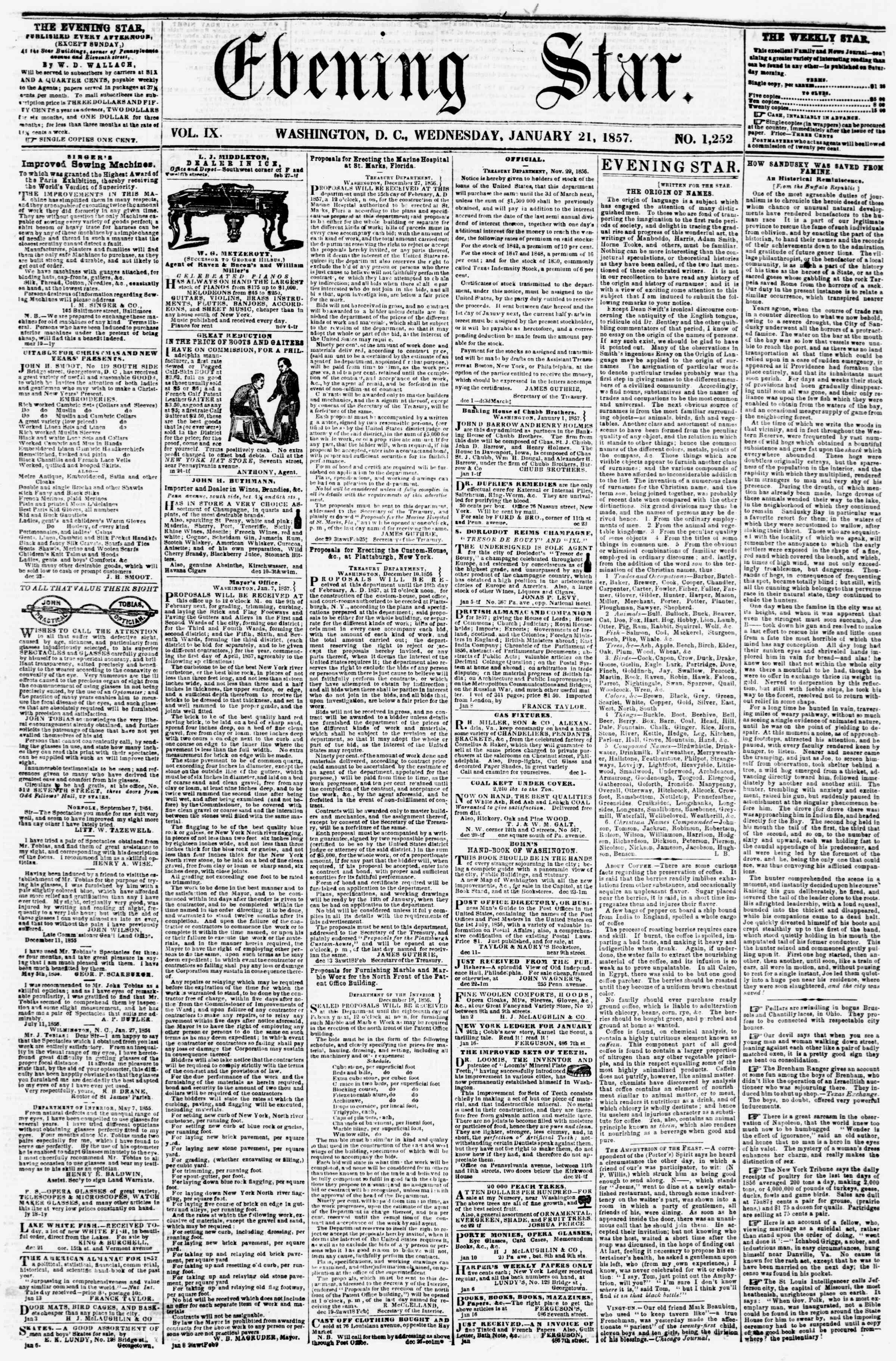 Newspaper of Evening Star dated January 21, 1857 Page 1