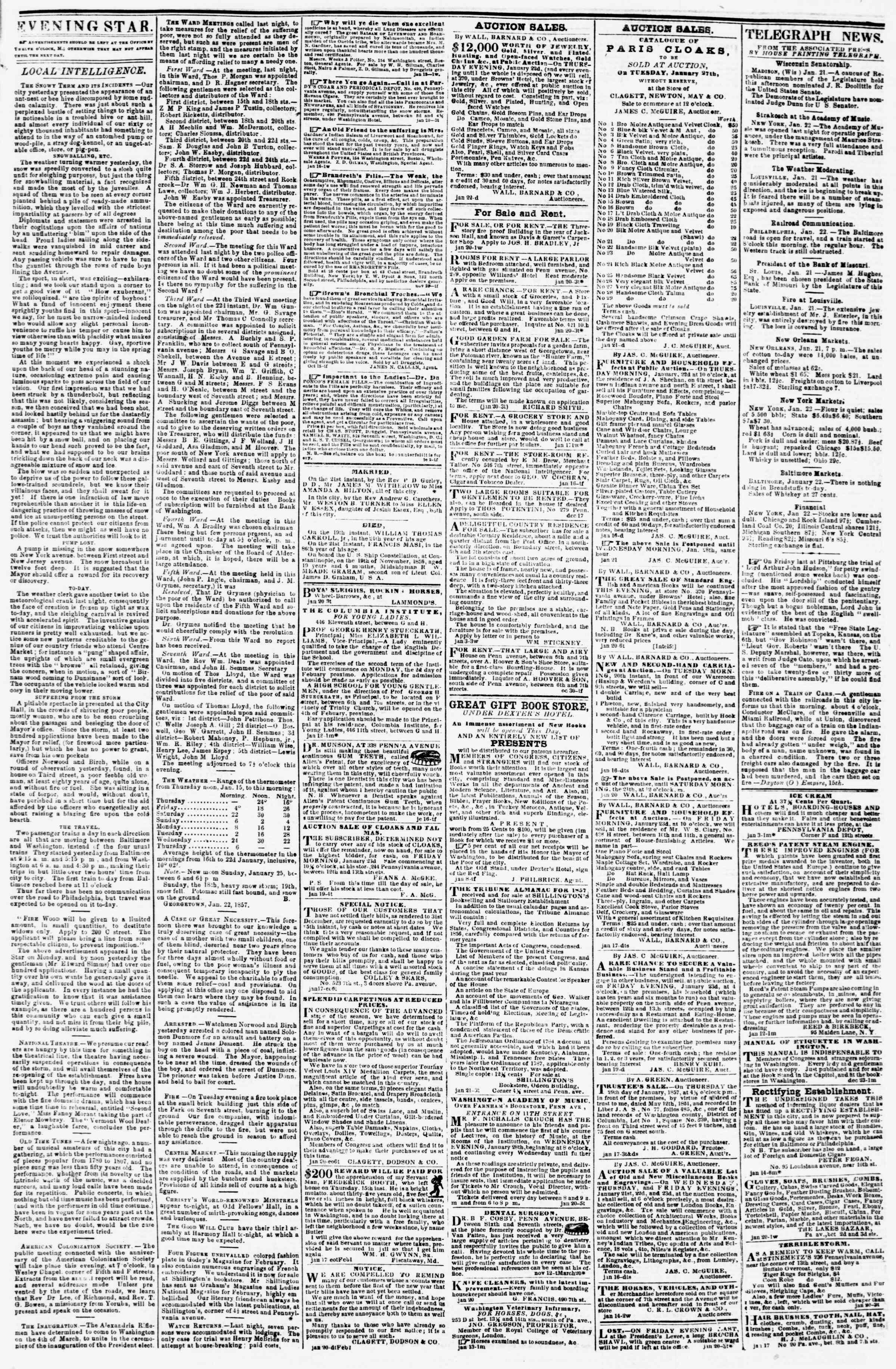 Newspaper of Evening Star dated January 22, 1857 Page 3