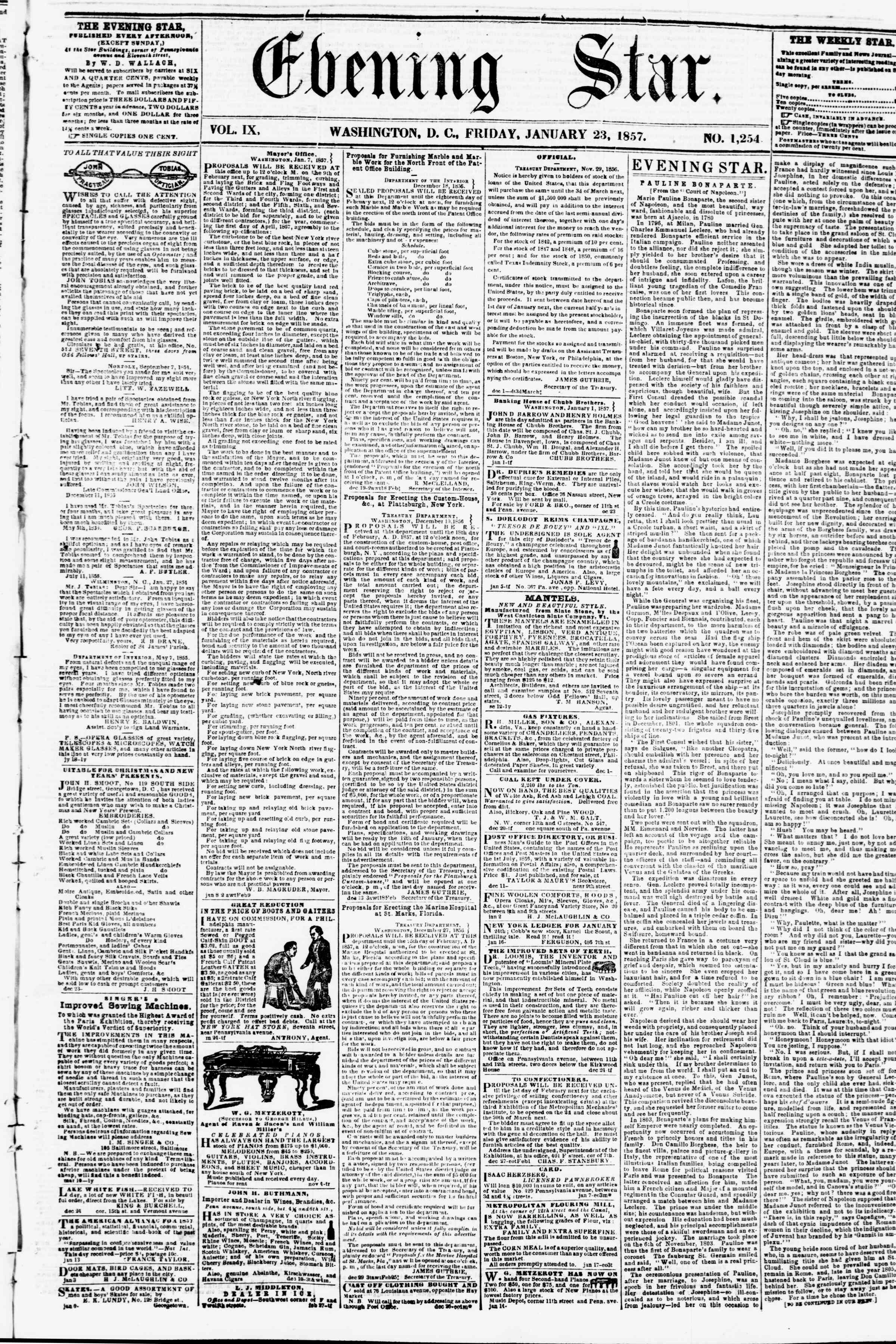 Newspaper of Evening Star dated January 23, 1857 Page 1