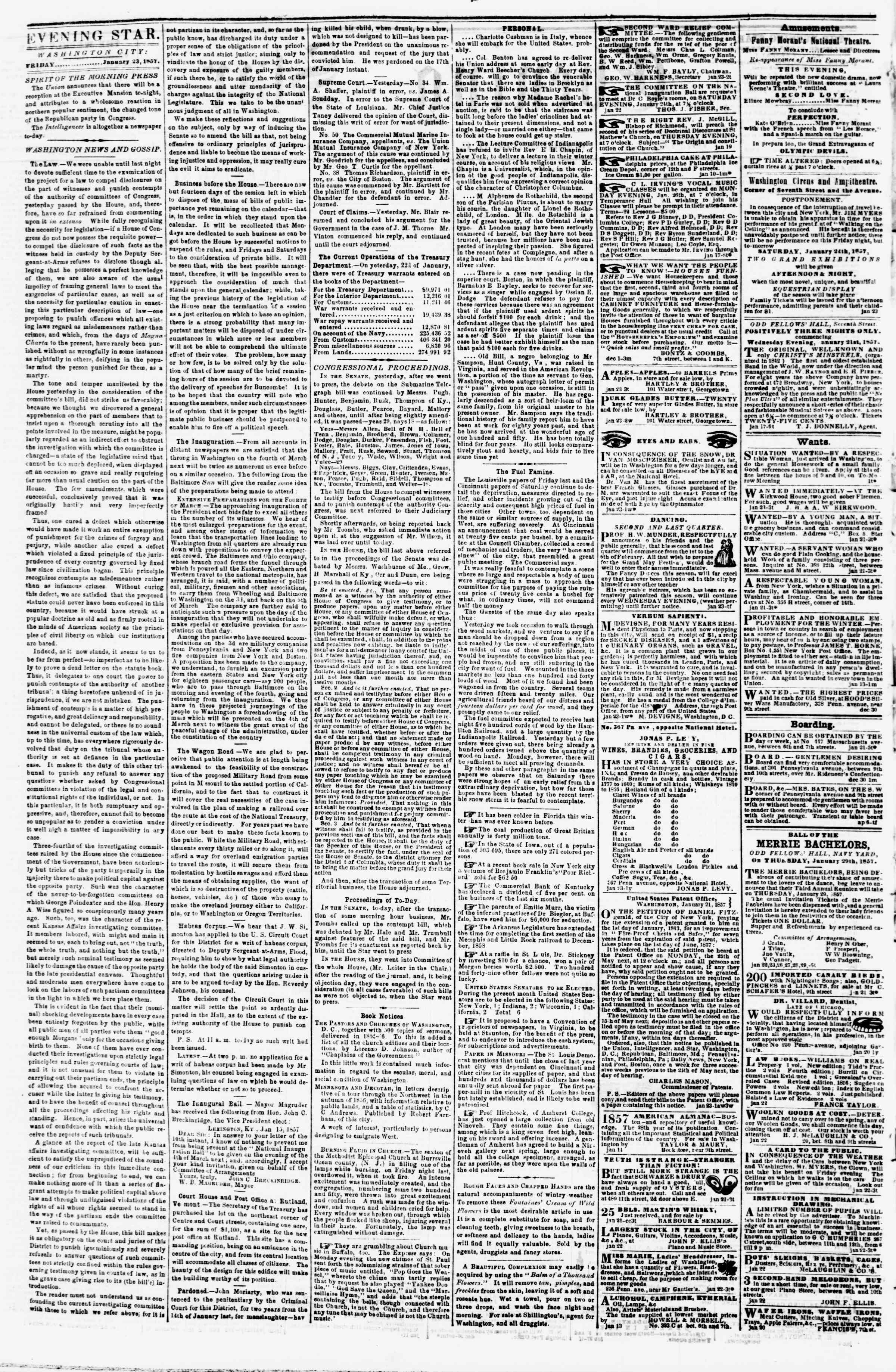 Newspaper of Evening Star dated January 23, 1857 Page 2