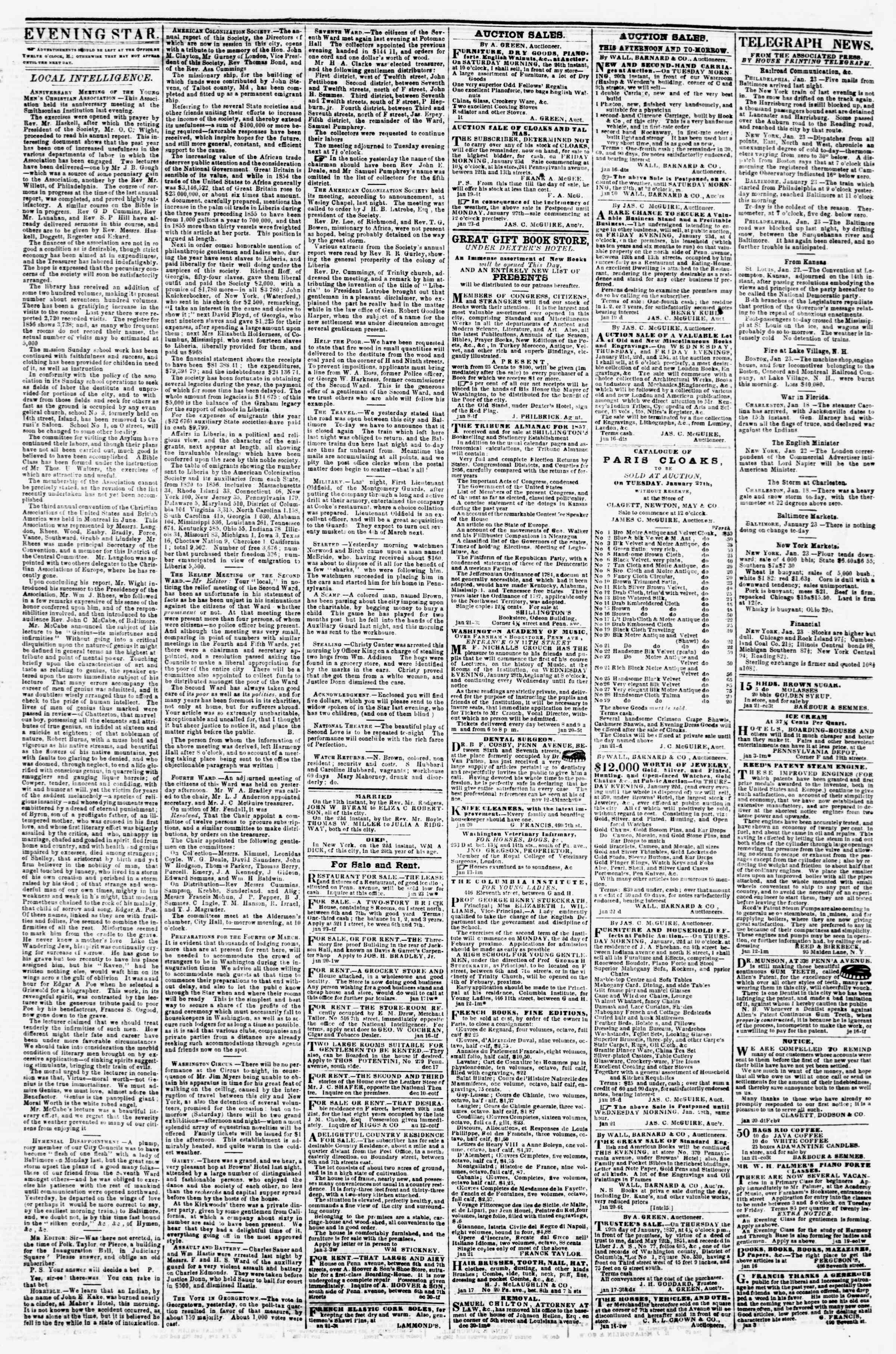 Newspaper of Evening Star dated January 23, 1857 Page 3