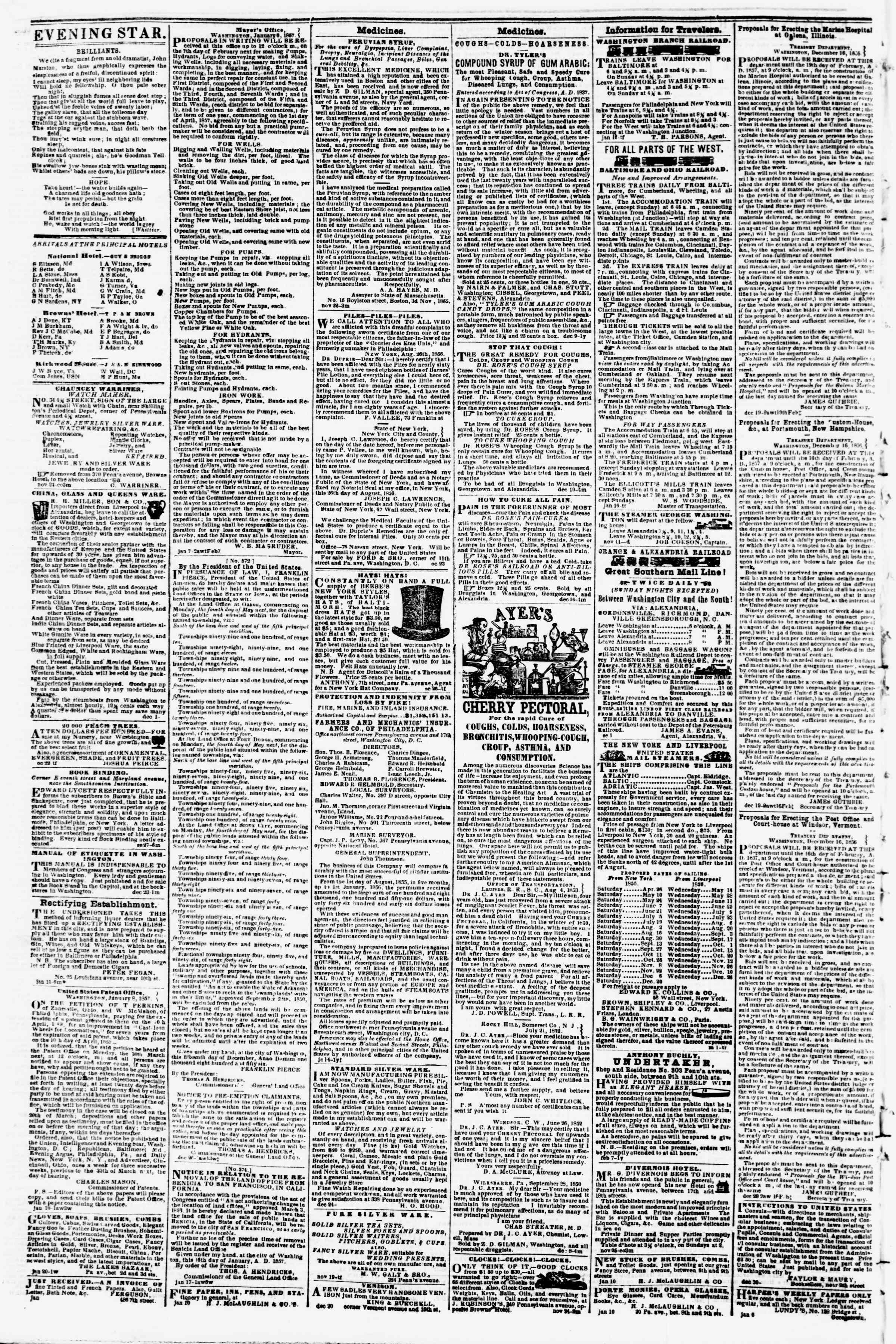 Newspaper of Evening Star dated January 23, 1857 Page 4