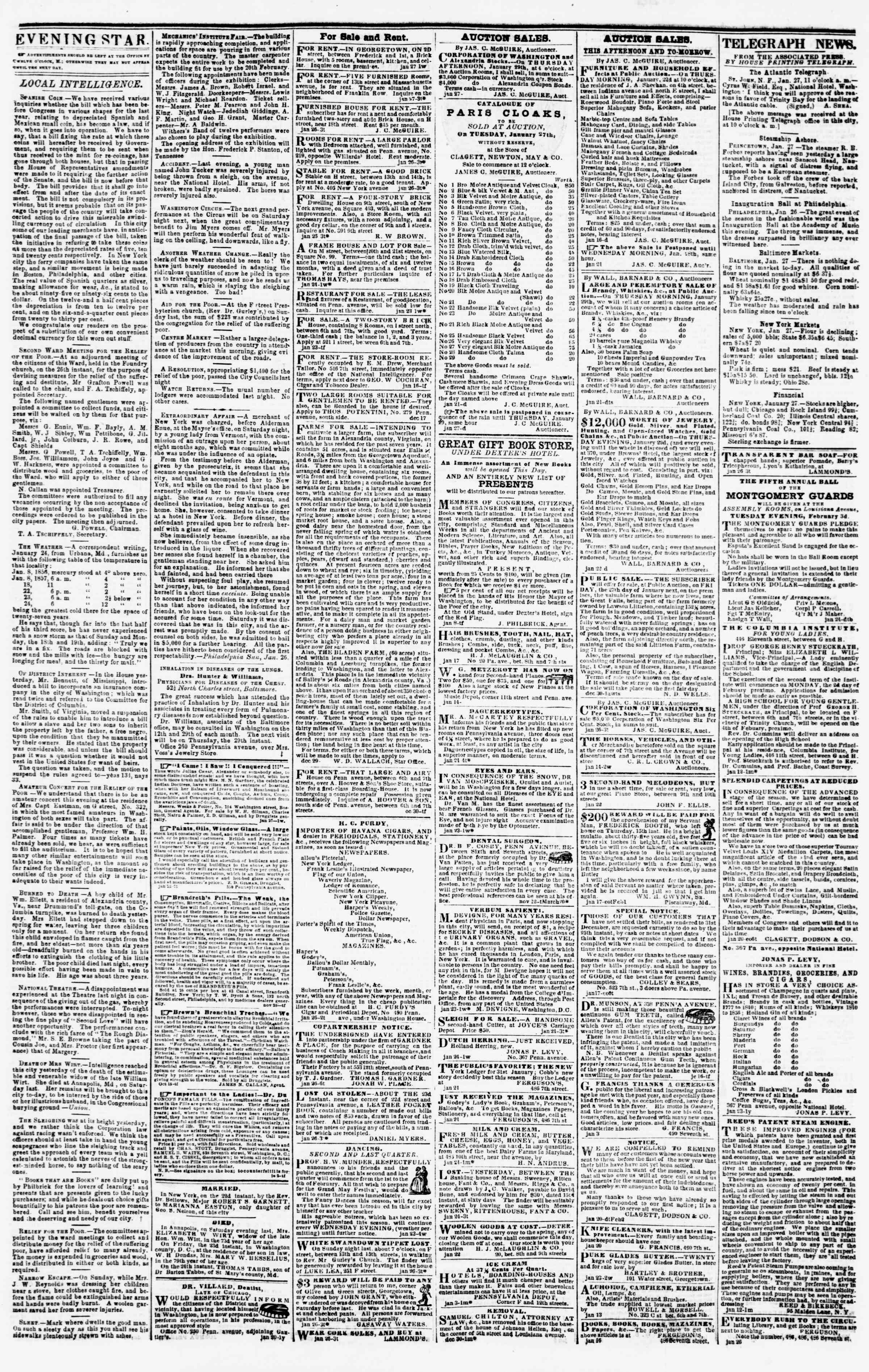 Newspaper of Evening Star dated January 27, 1857 Page 3