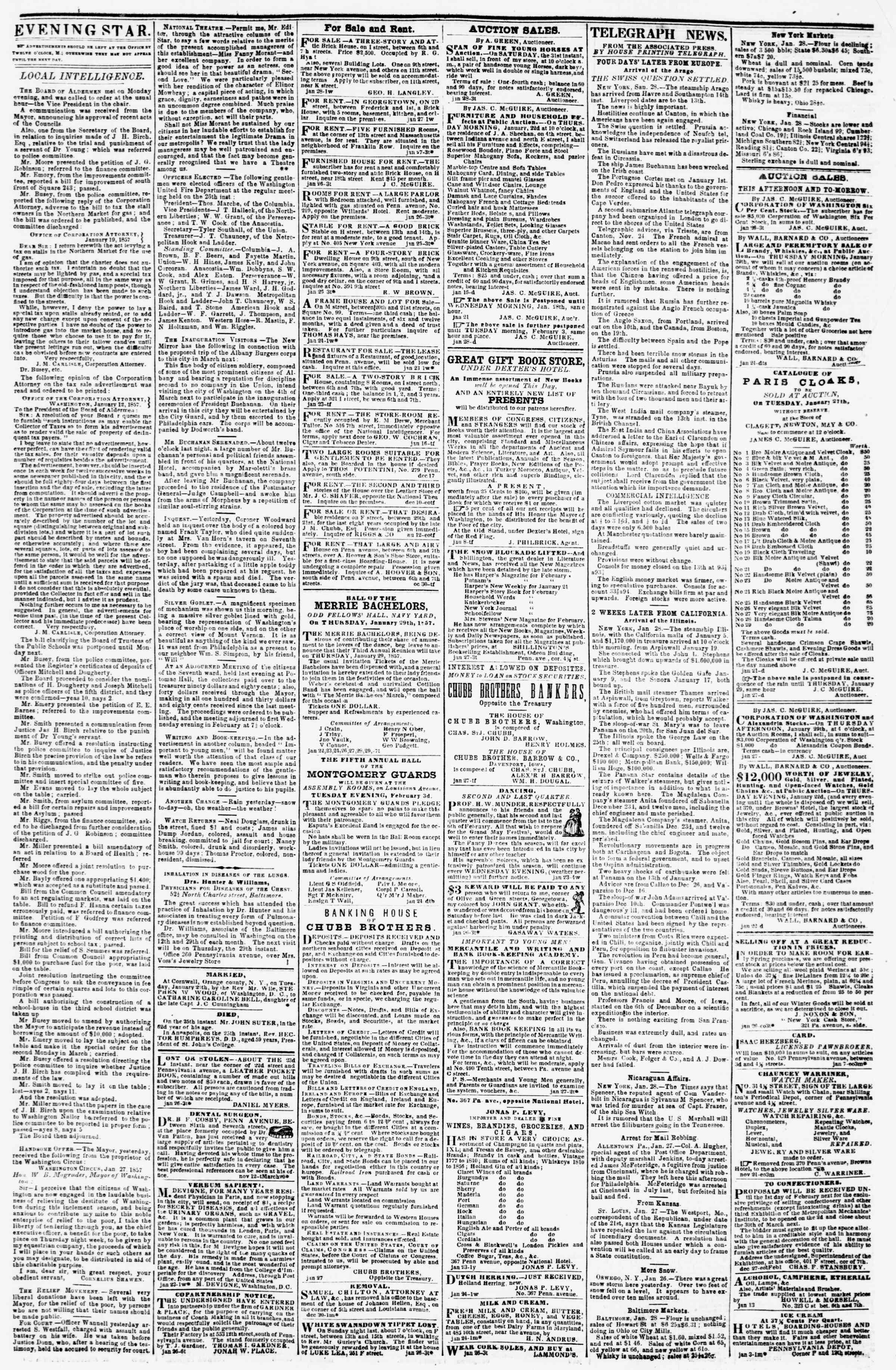 Newspaper of Evening Star dated January 28, 1857 Page 3